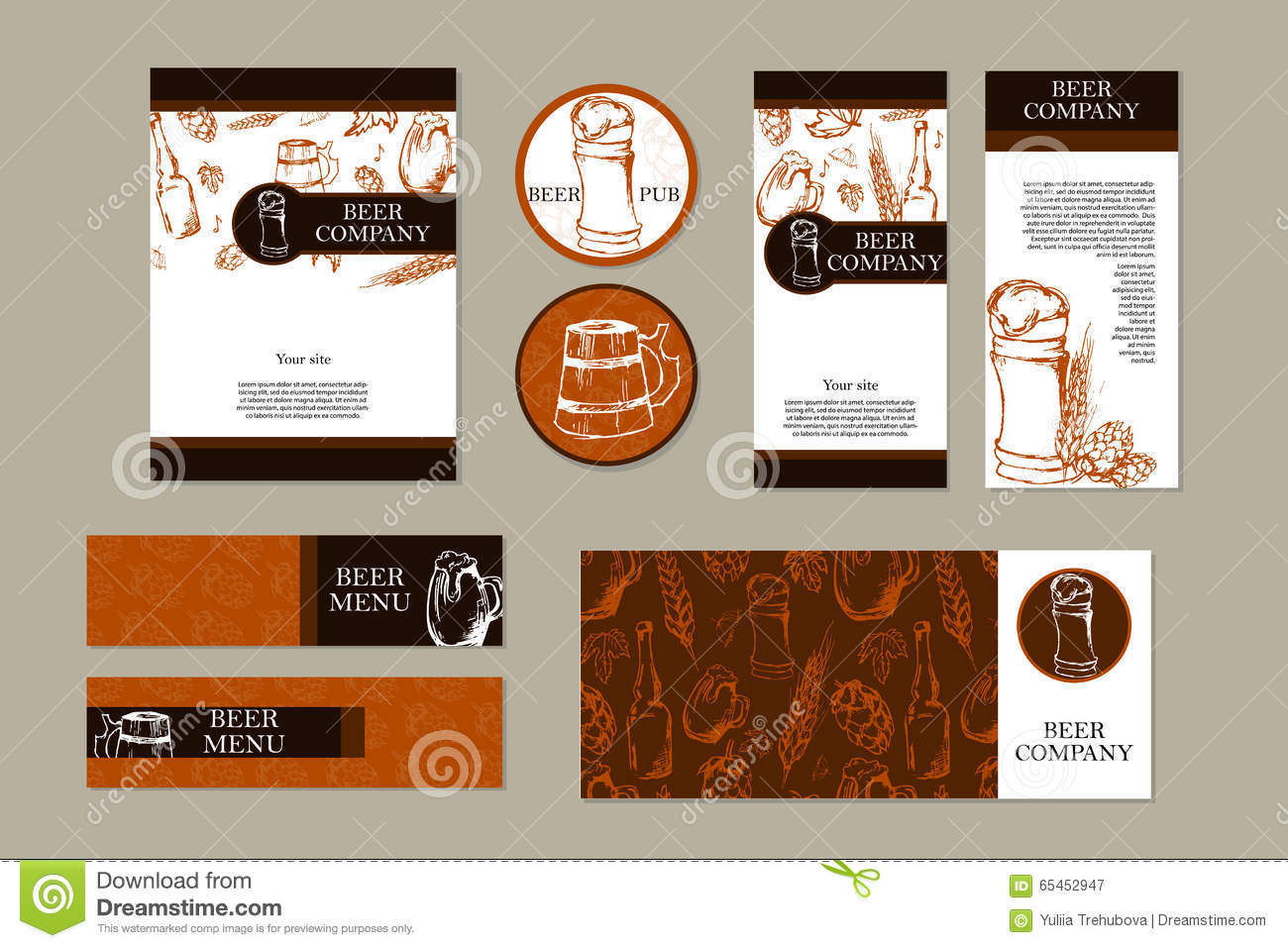Beer menu retro card or flyer restaurant theme business for Business card collection