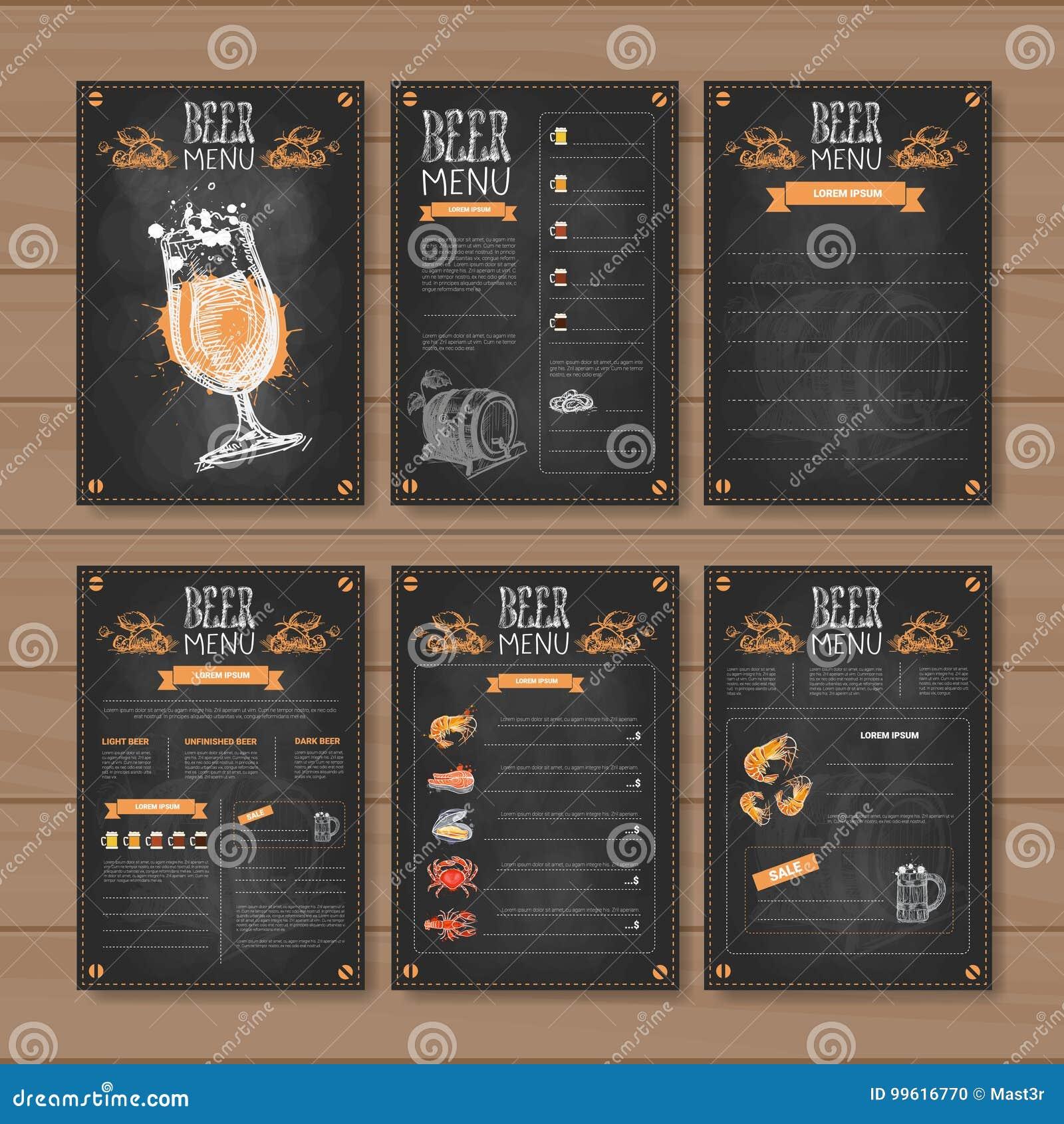 Beer Menu Set Design For Restaurant Cafe Pub Chalked On Wooden