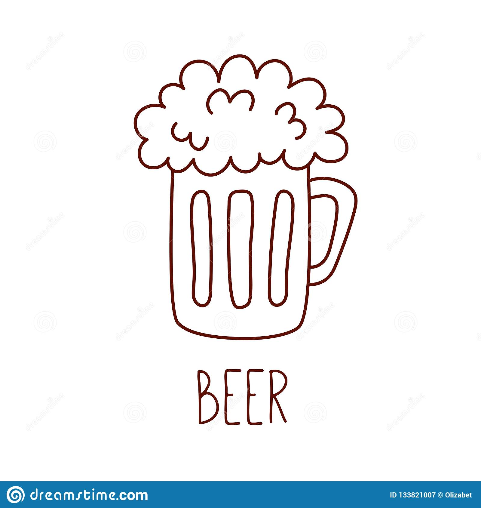 Beer Mug Drink Doodle Line Vector Icon Stock Vector Illustration Of Logo Icon 133821007