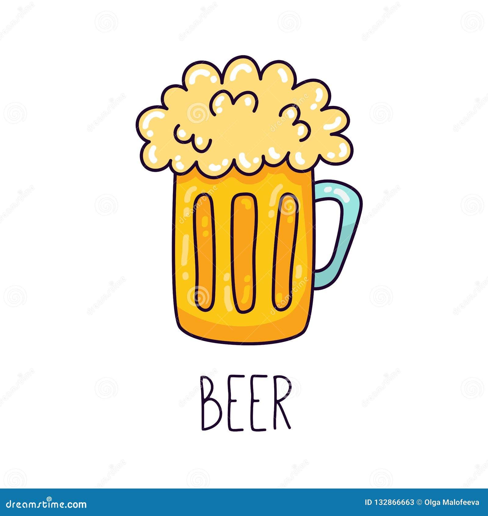Beer Mug Colorful Doodle Vector Icon Stock Vector Illustration Of Menu Doodle 132866663