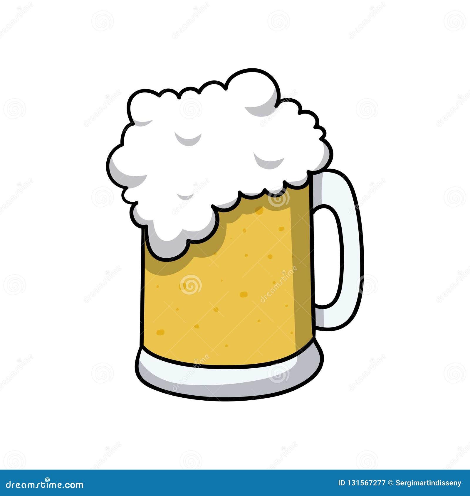 Beer Mug Drink Icon Doodle Cartoon Vector Illustration Stock Vector Illustration Of Light Clip 131567277