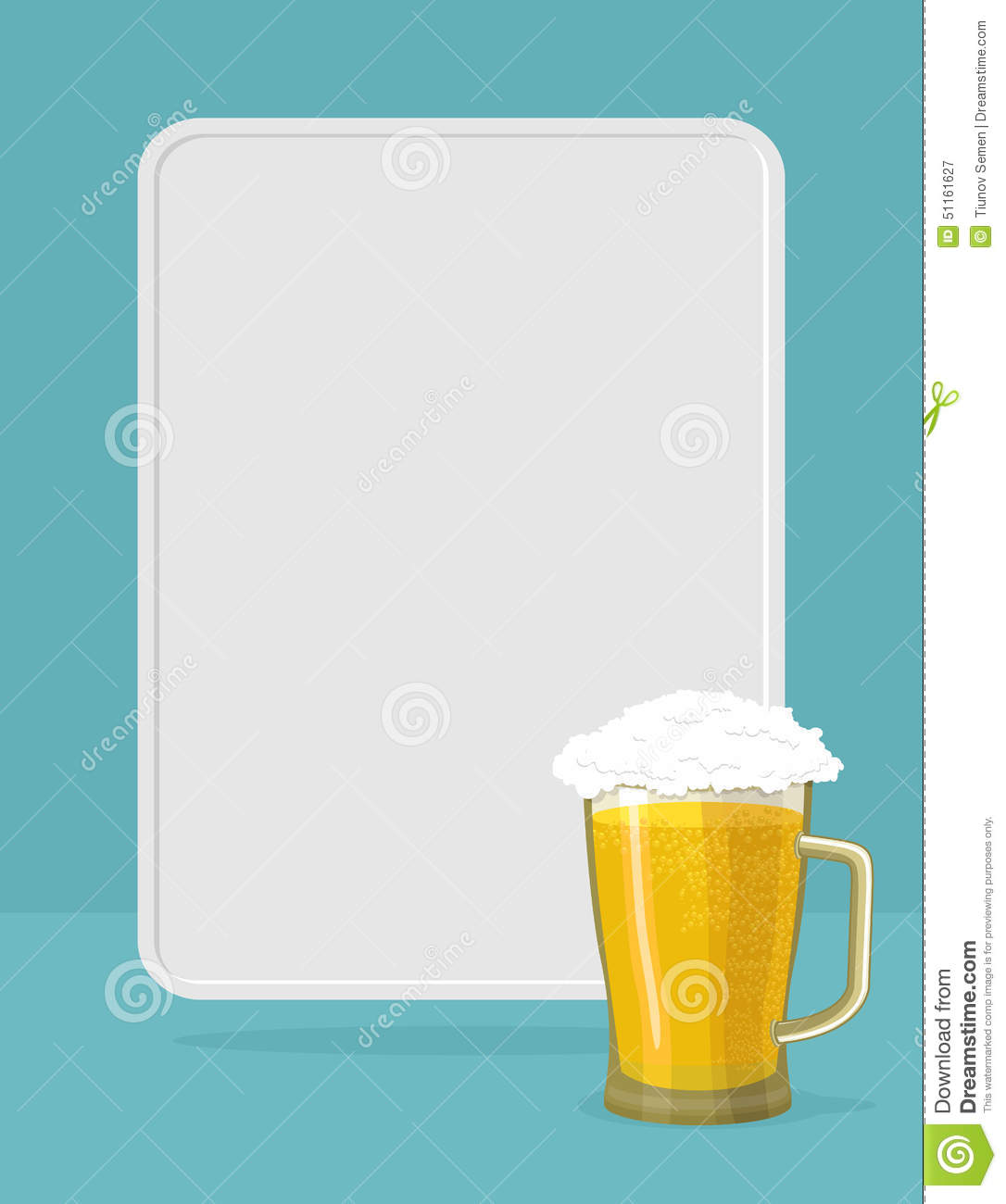 Beer Mug With Foam. Frame For Text. Stock Vector - Illustration of ...