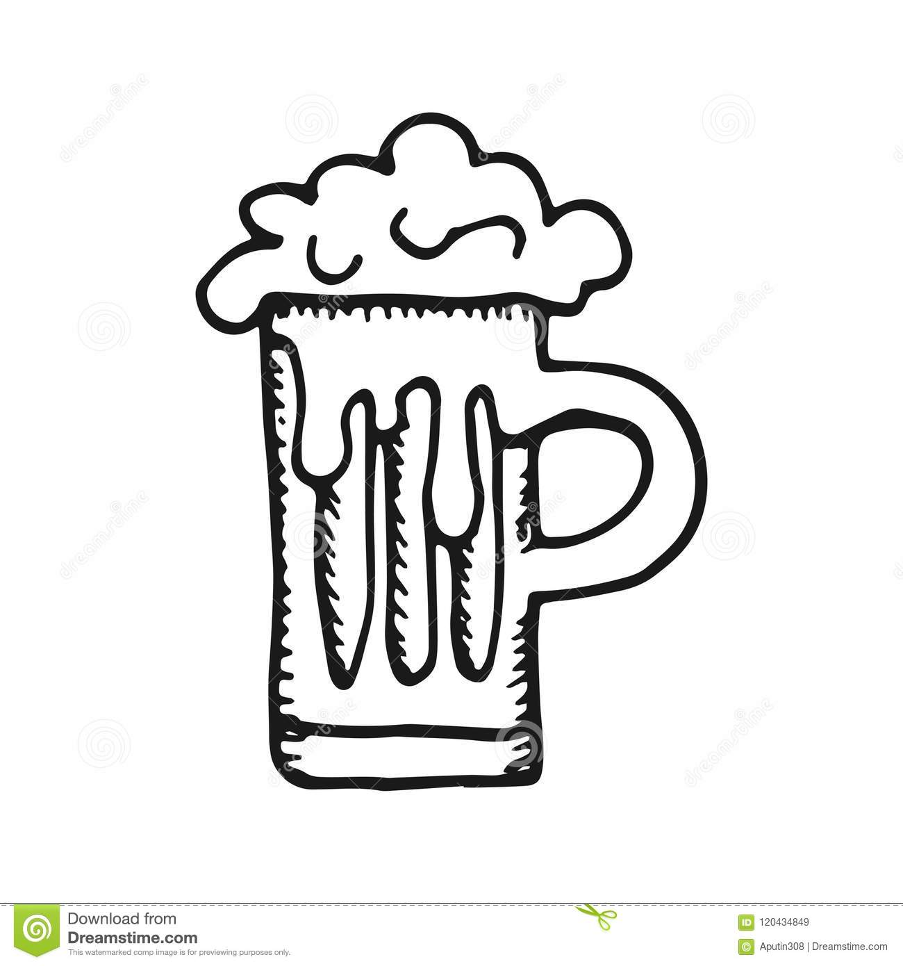 Beer Mug With Foam Simple Sketch Vector Isolated Stock Vector Illustration Of Light Alcohol 120434849