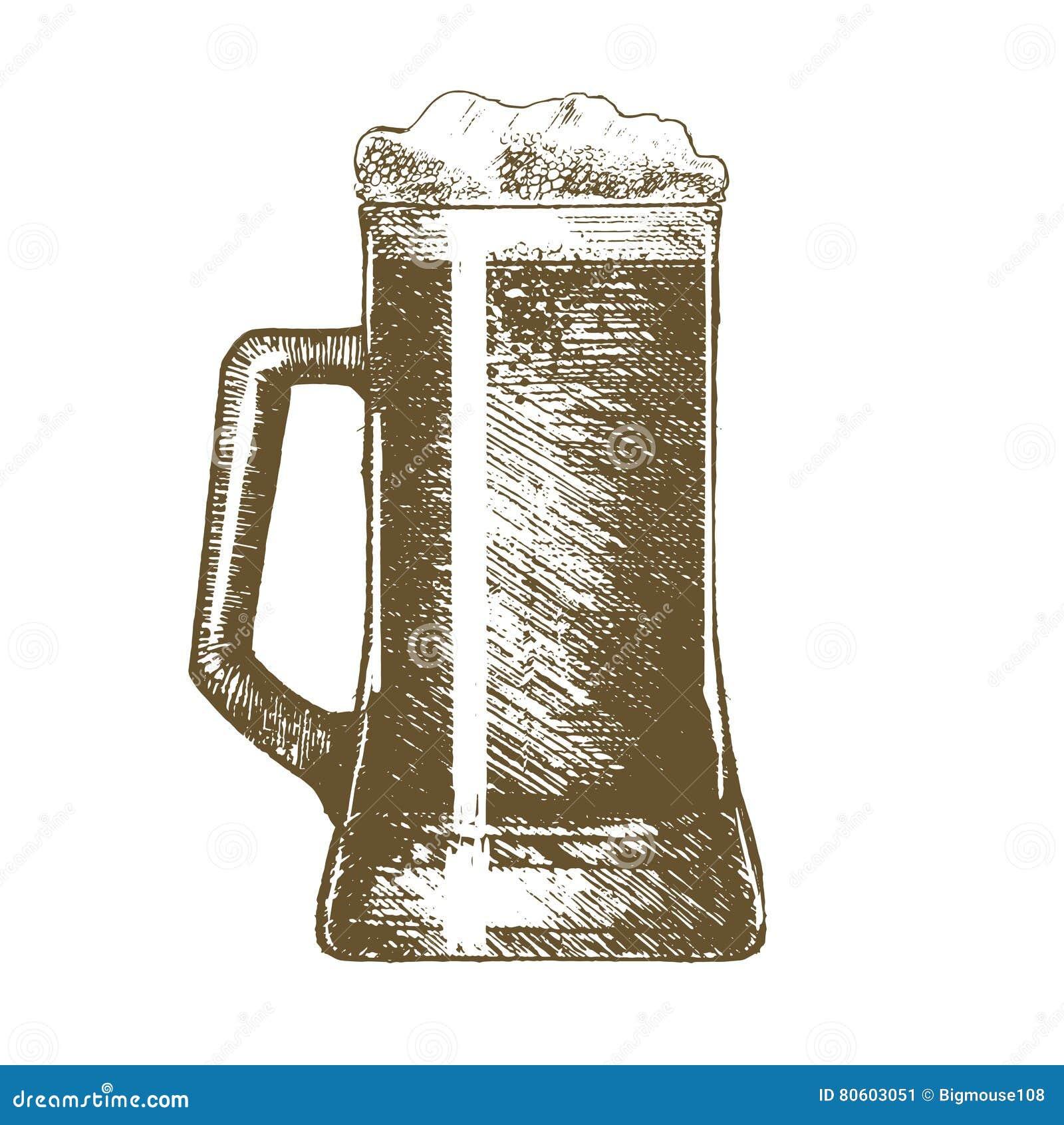 beer mug hand draw sketch vector stock vector illustration of