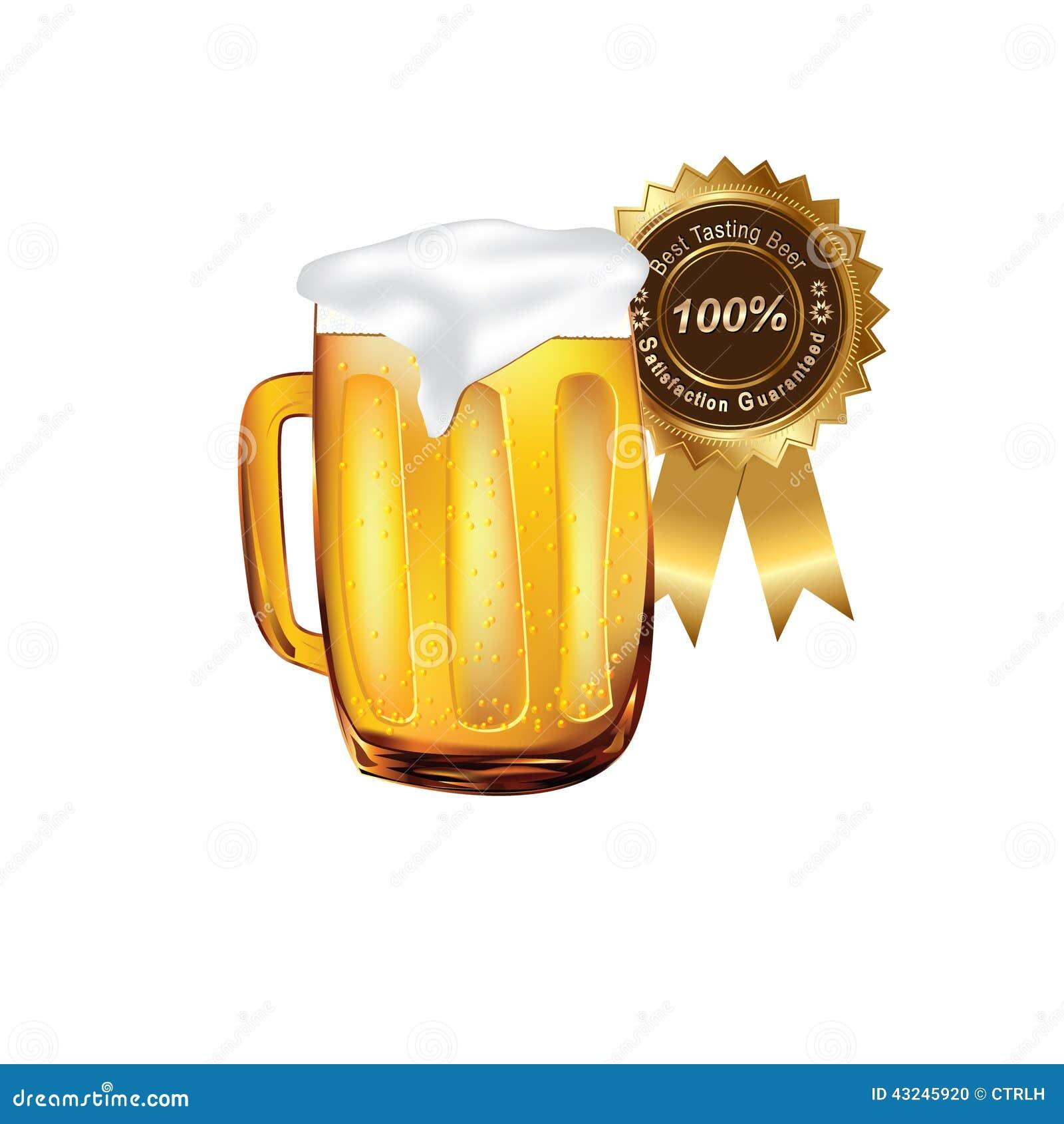Beer On Mug With A Ribbon Satisfaction Guarateed Stock Illustration Illustration Of Restaurant Guaranteed 43245920