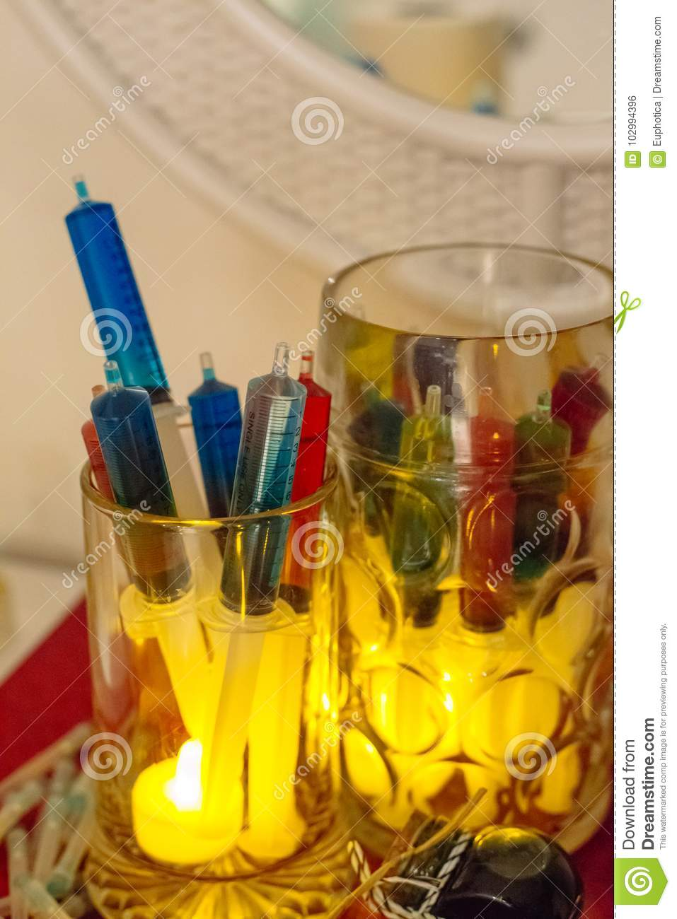 Beer Mug With Syringe Alcohol Shots Colorful Ideas For Halloween Thematic Party Stock Photo Image Of Dacopy Drink 102994396