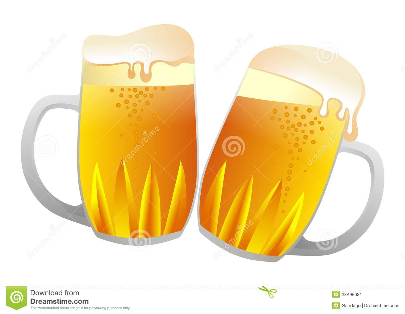 Vector illustration of two beer cups isolated.