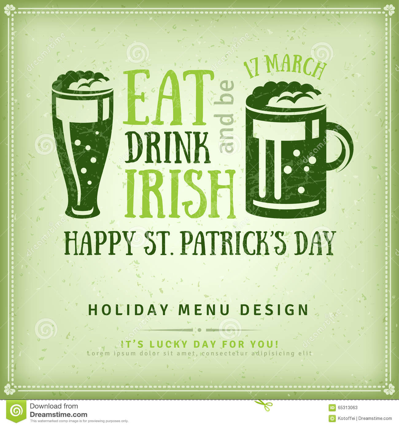 Beer party invitation irish typography emblem stock for Irish menu templates