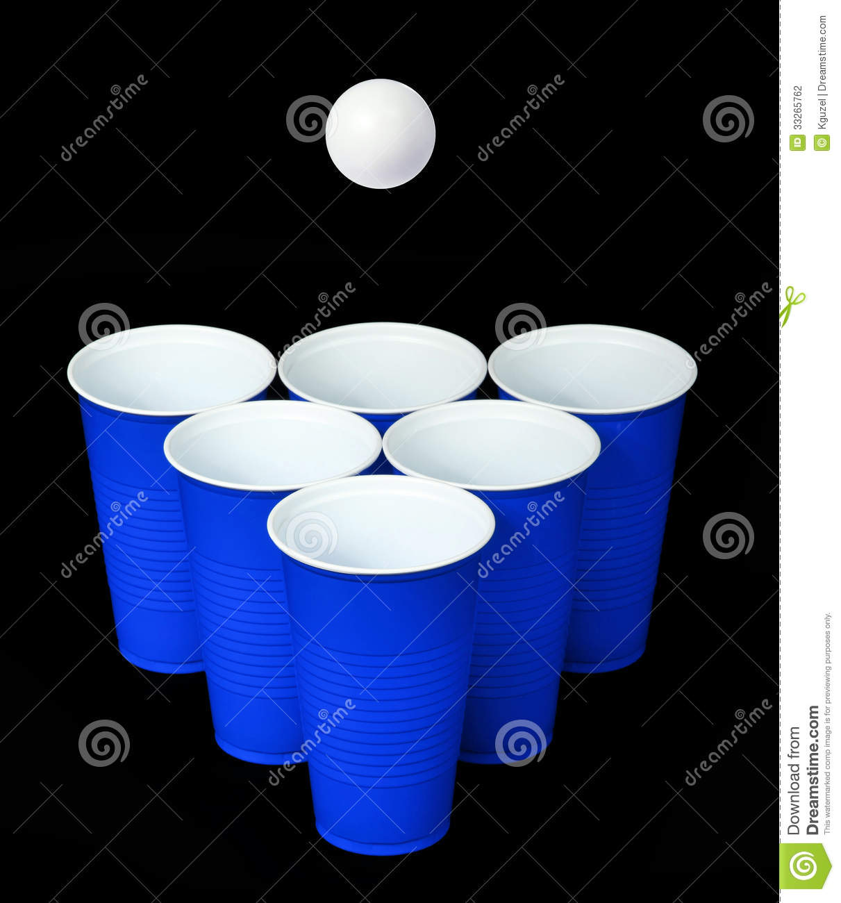 Beer Pong Blue Plastic Cups And Ping Pong Ball Over Black