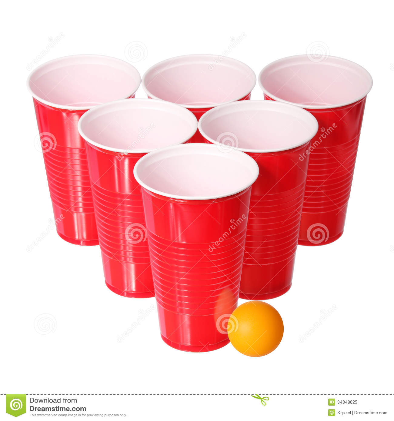 Beer Pong Red Plastic Cups And Orange Ping Pong Ball