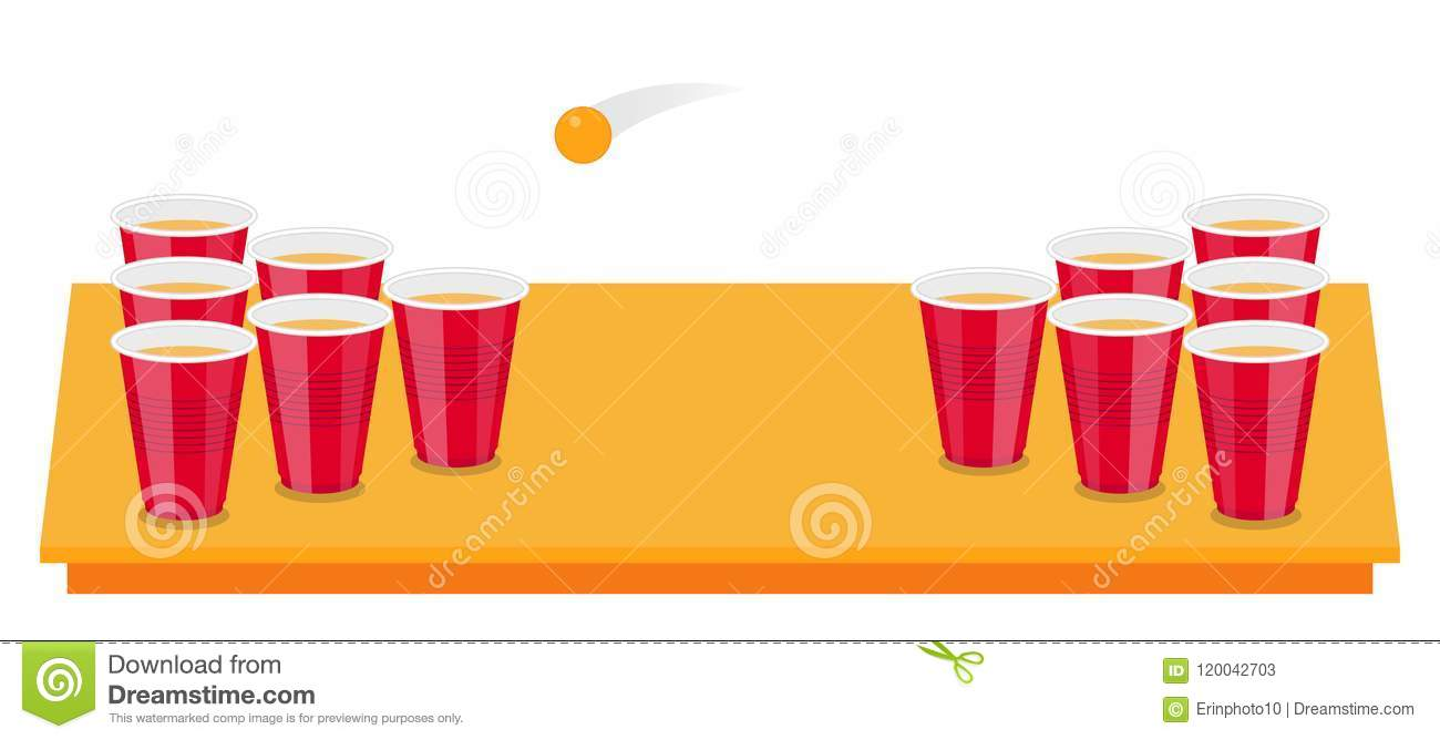 Beer Pong Tournament Flyer As Red Cups And Ping Ball