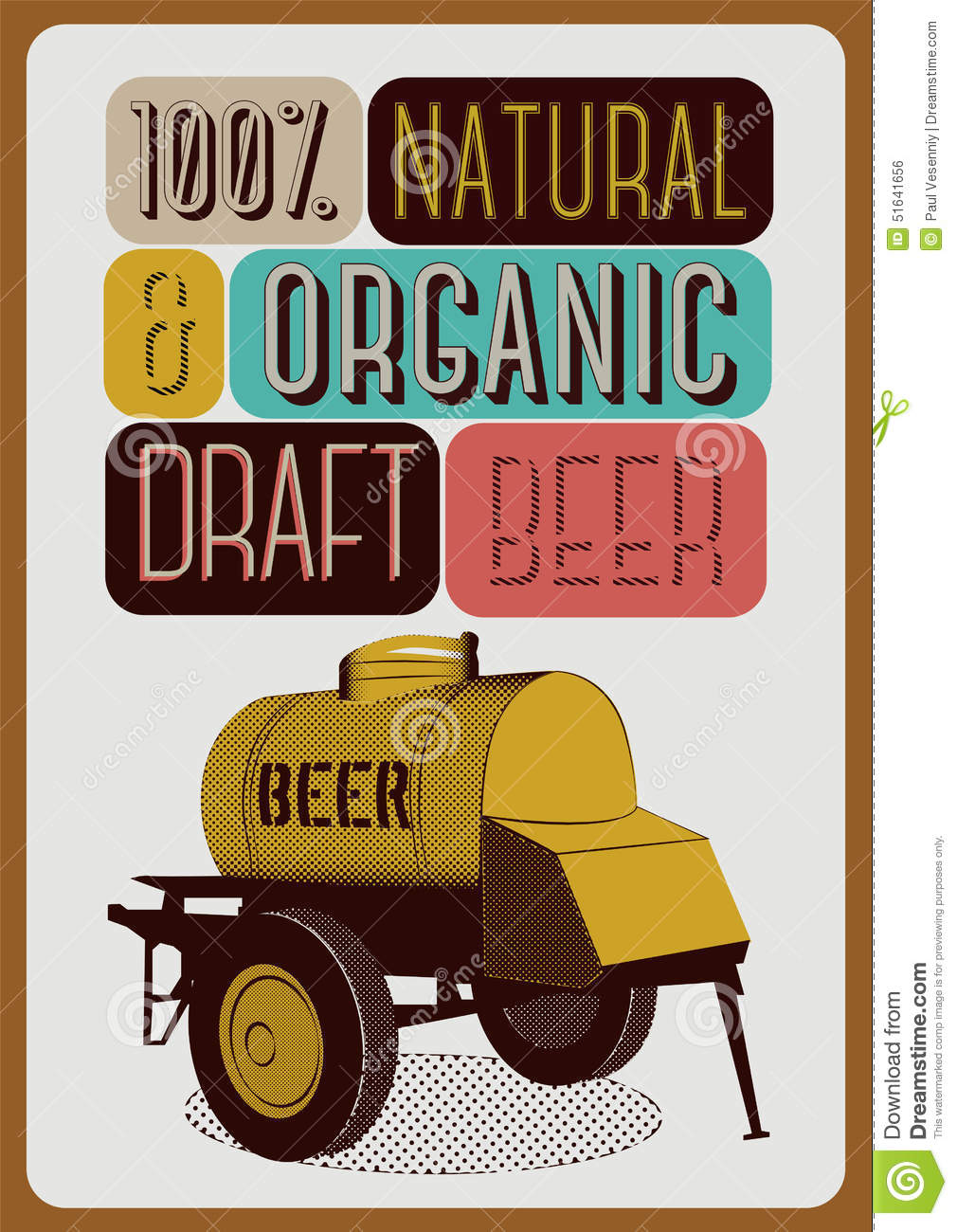 Download Beer Poster In Retro Style With An Iron Barrel Of On Wheels Vector
