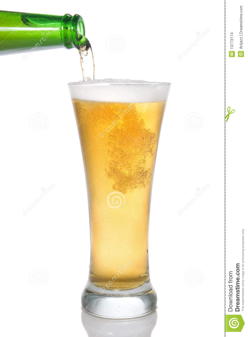 Beer Pouring From Bottle Into Glass Stock Images Image
