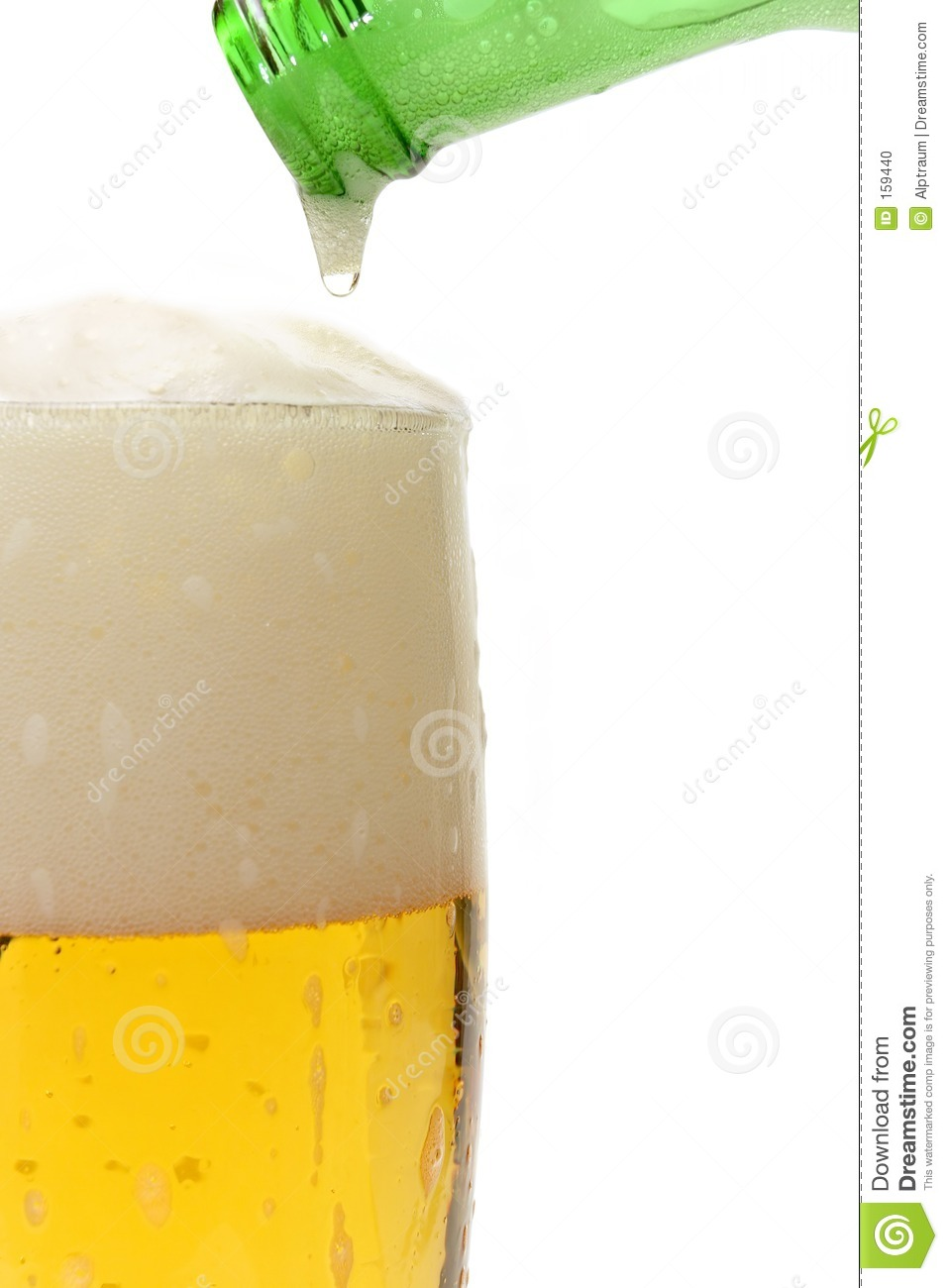 beer pouring in glass