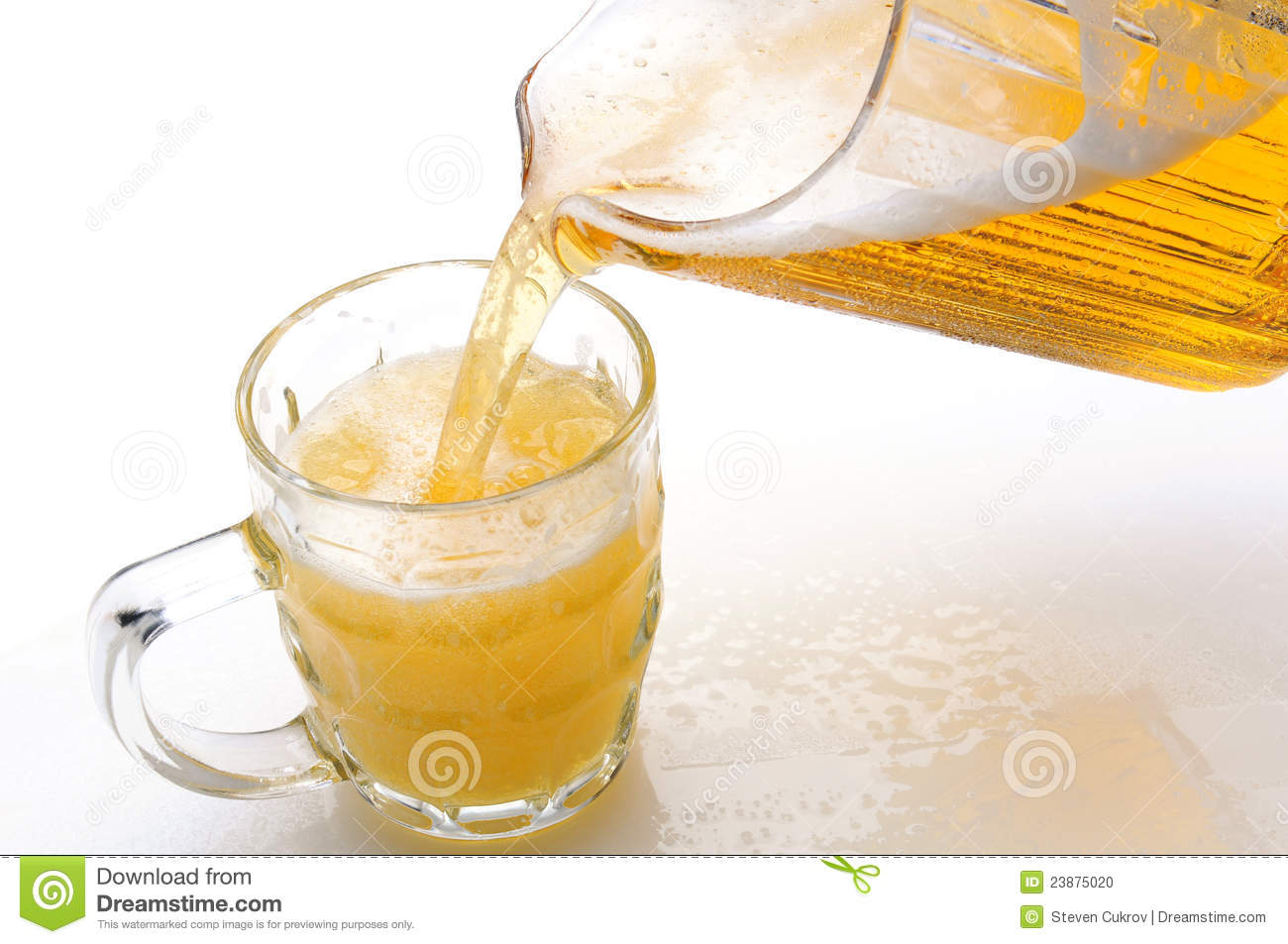 Beer Pouring into Mug from Pitcher