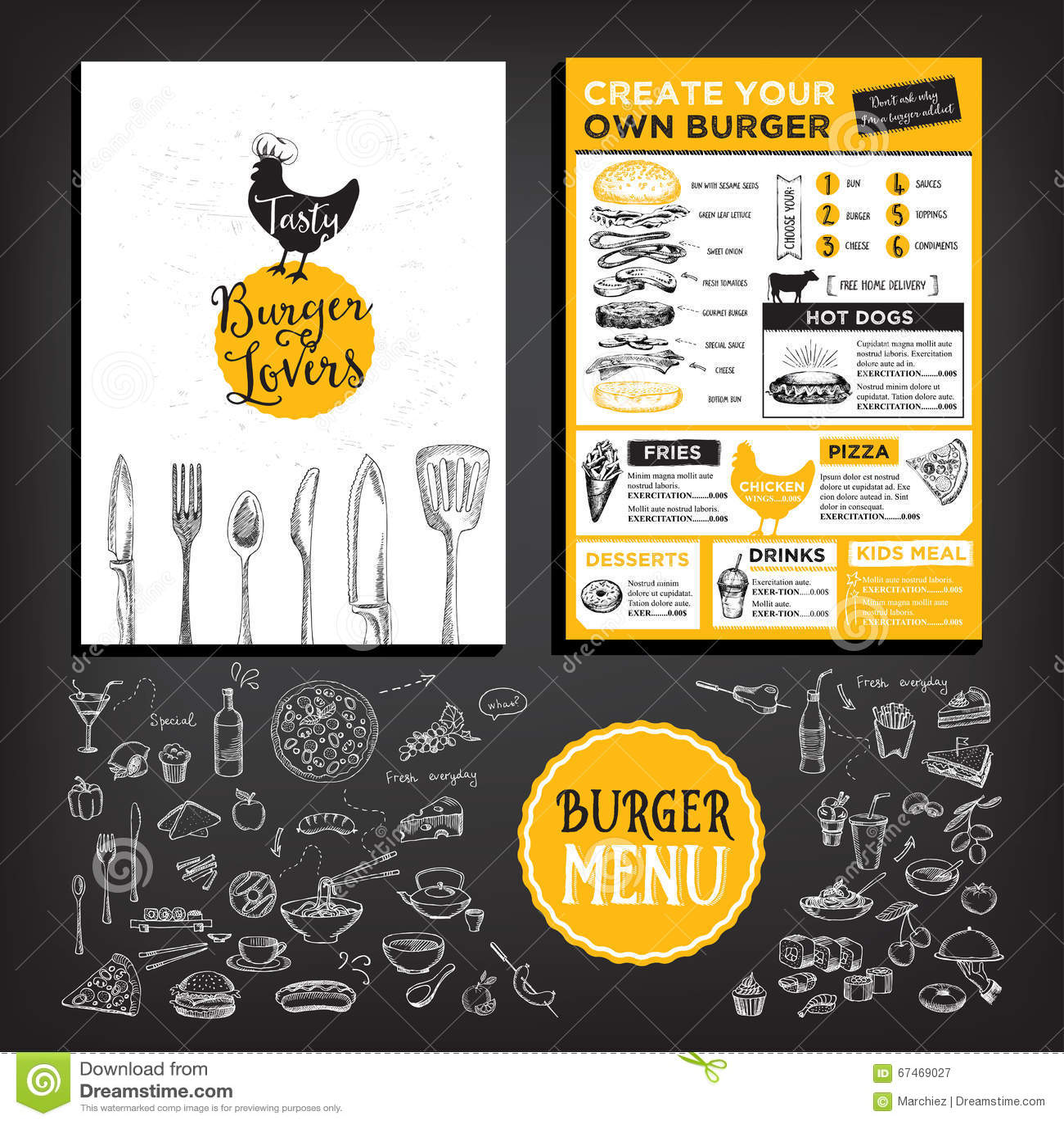 Beer restaurant cafe menu template design stock vector