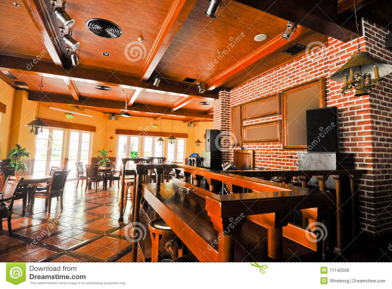 Beer restaurant indoor with wooden furniture royalty free