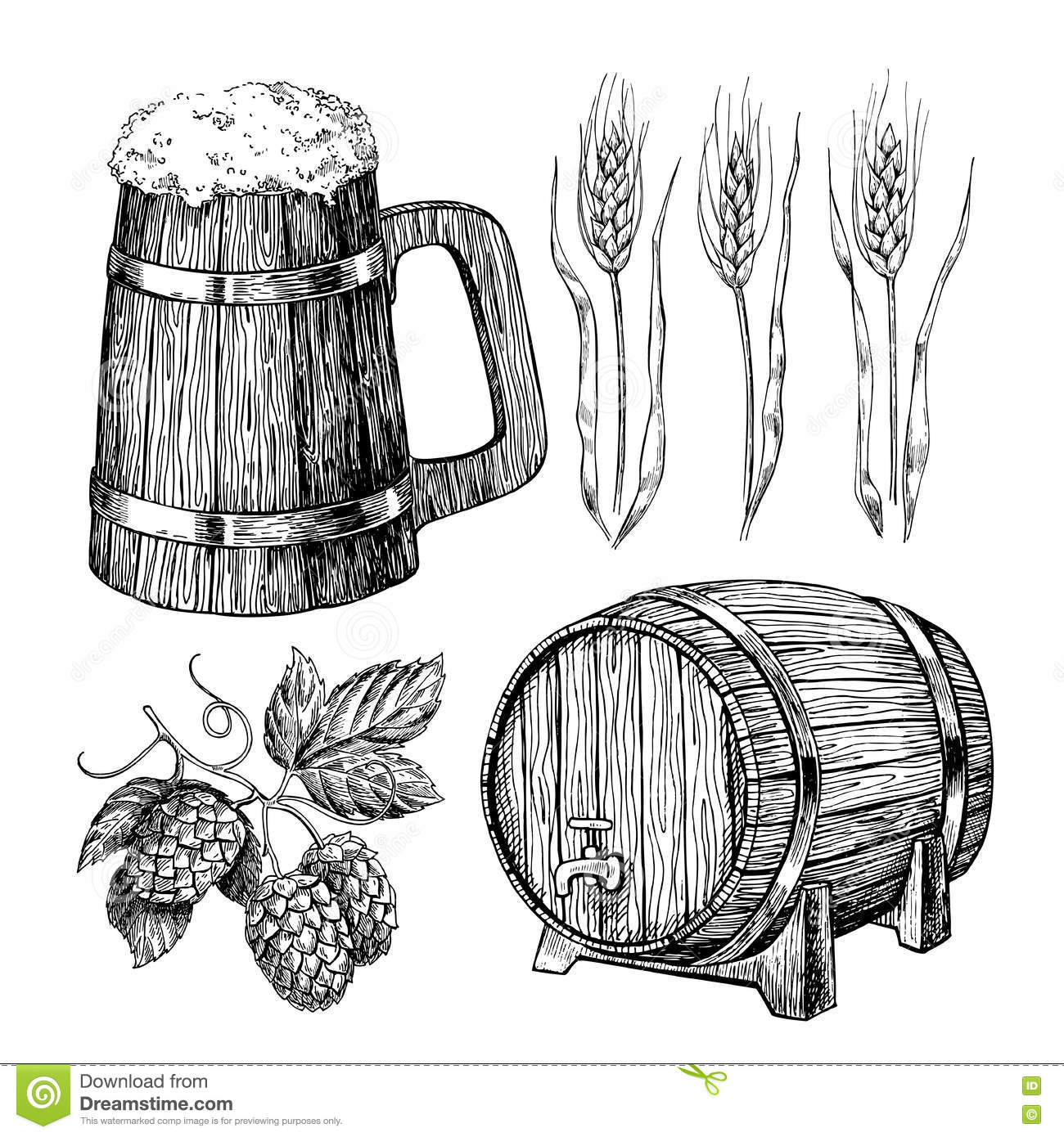 7a4e67f215f Beer Set. Alcohol Beverage Hand Drawn Illustration. Stock Vector ...