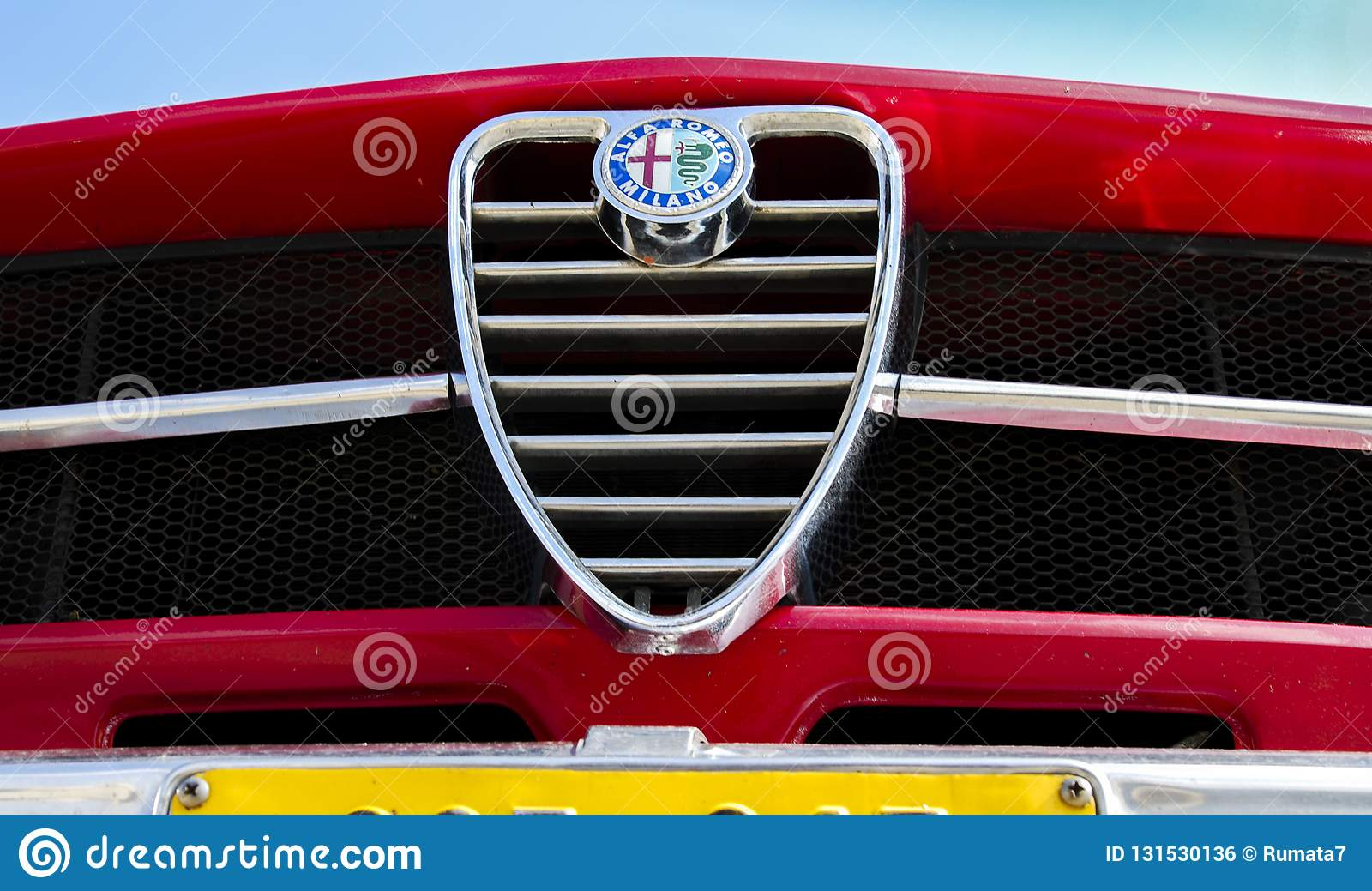 Vintage Alfa Romeo Logotype Or Emblem On Front Grill Editorial Photo Image Of Bright Blue 131530136