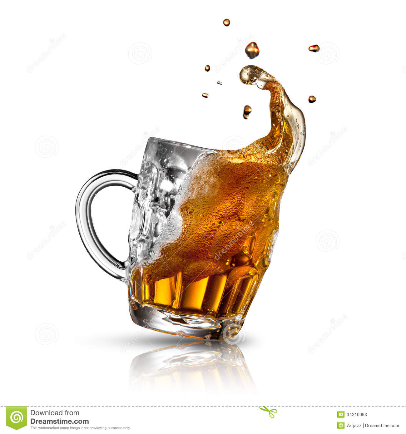 Beer Splash In Glass Isolated On White Stock Photos