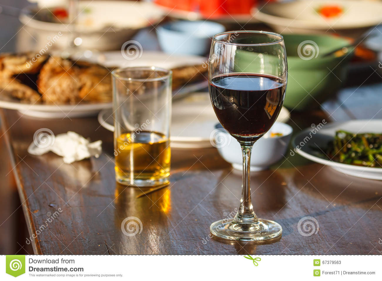 beer and wine on the table stock photo image 67379563. Black Bedroom Furniture Sets. Home Design Ideas