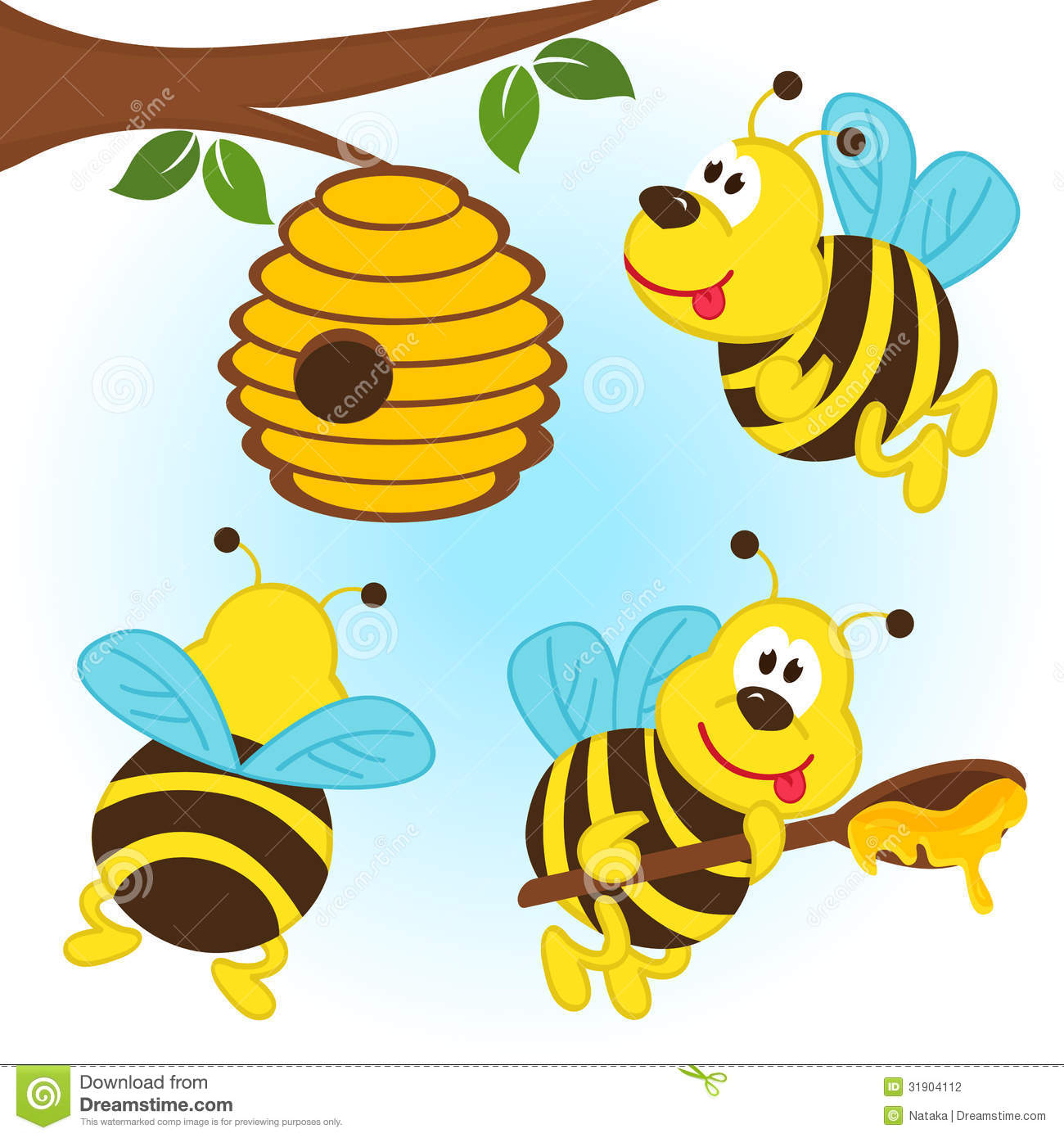 Bees Around A Hive Stock Photography - Image: 31904112