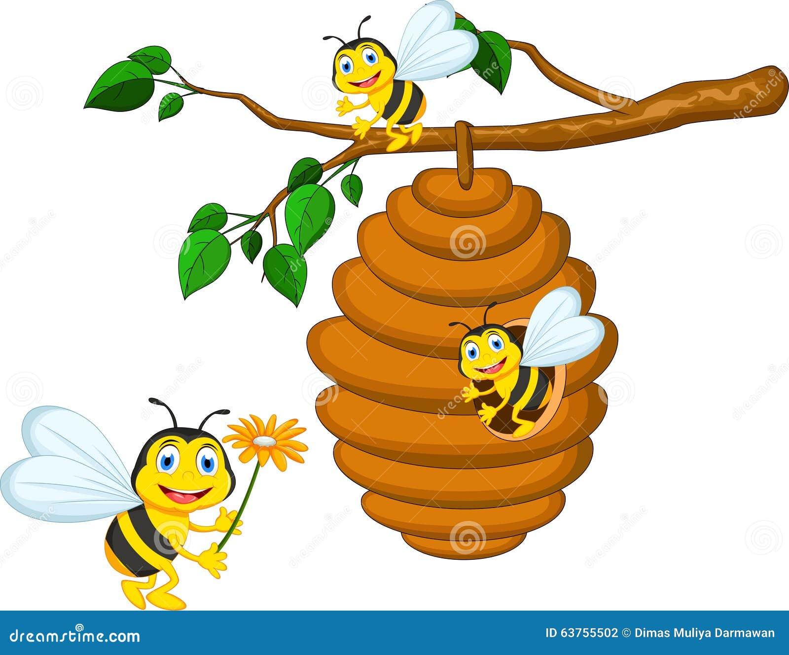 Bees Cartoon Holding Flower Stock Illustration
