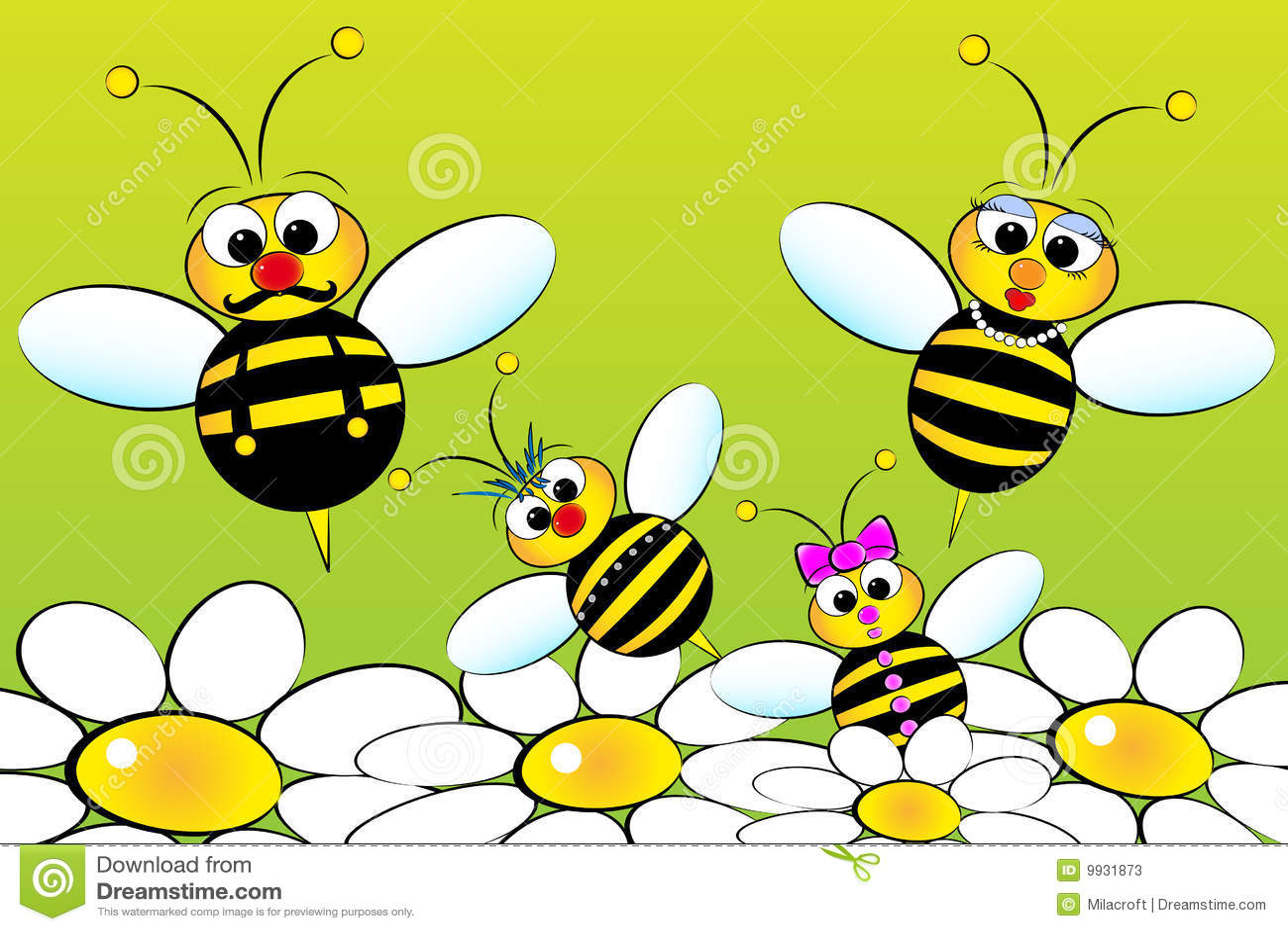 Bees family kids illustration stock vector for Immagini di api per bambini