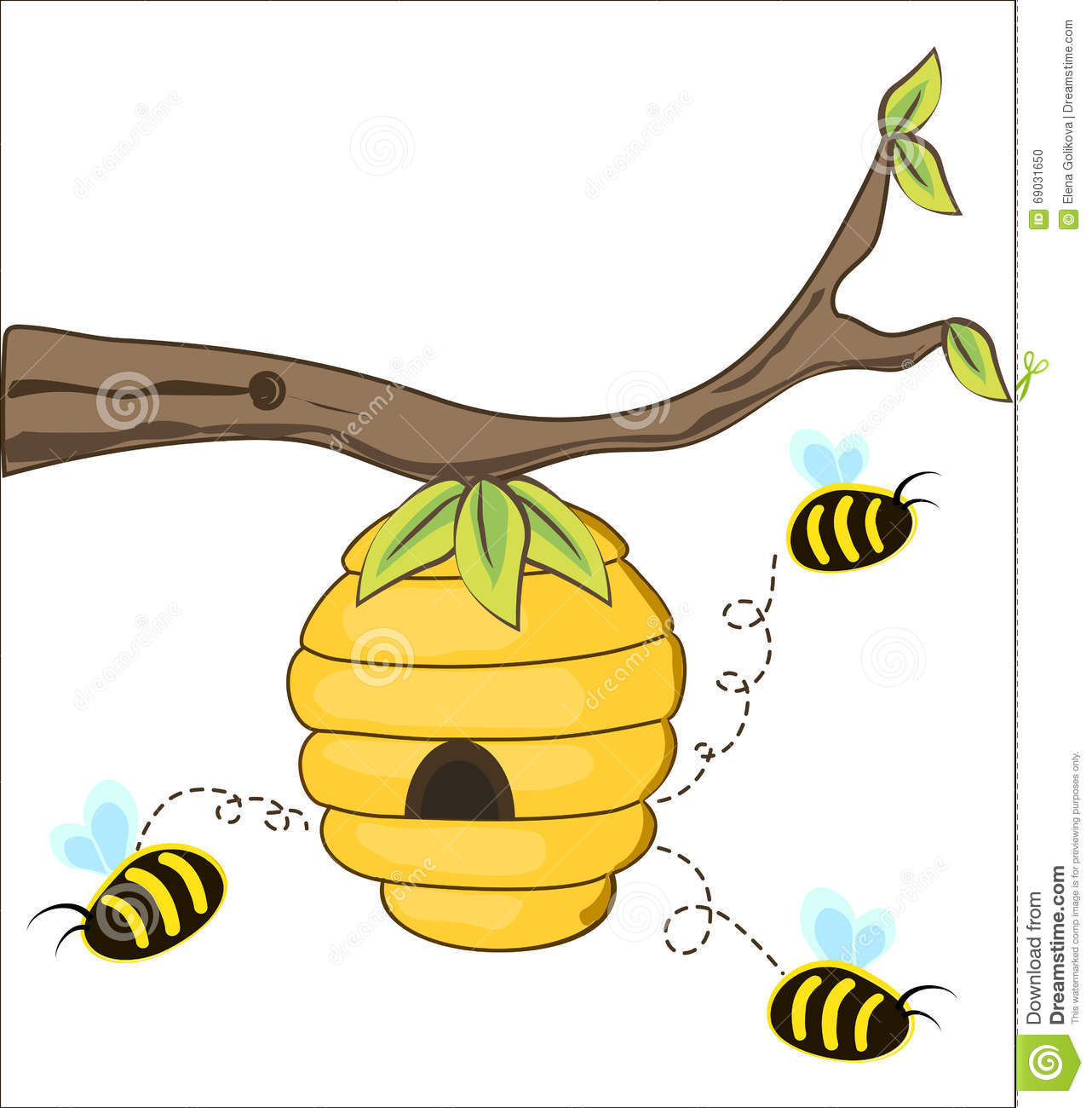 the bees fly out of a beehive stock vector image 69031650