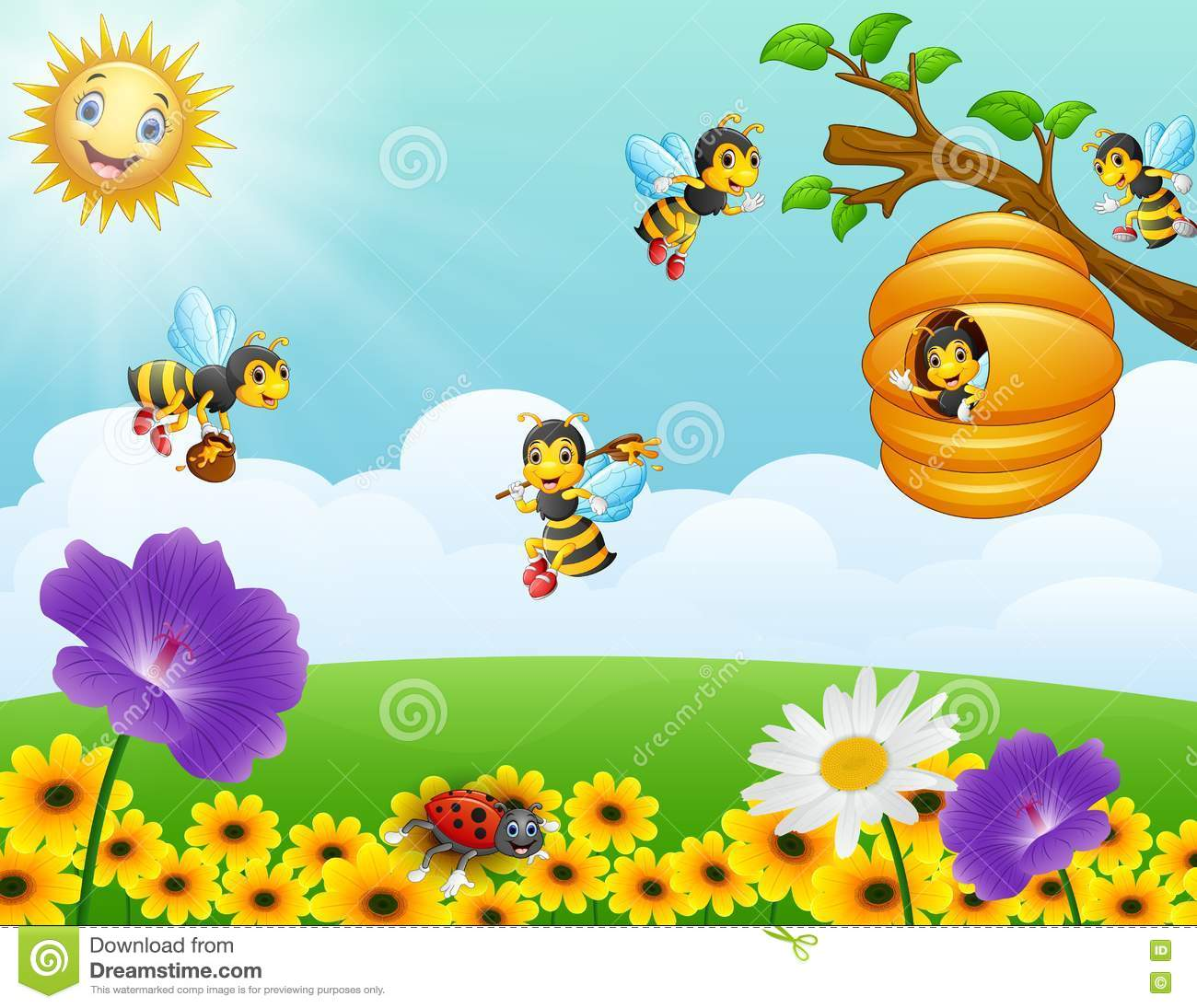 Bees cartoons illustrations vector stock images 4406 for Ahuyentar abejas jardin