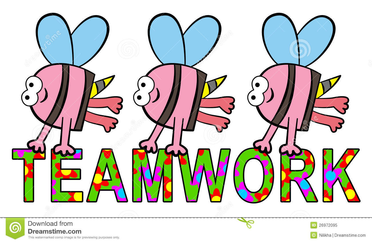 group of bees carrying a teamwork word with flower design.