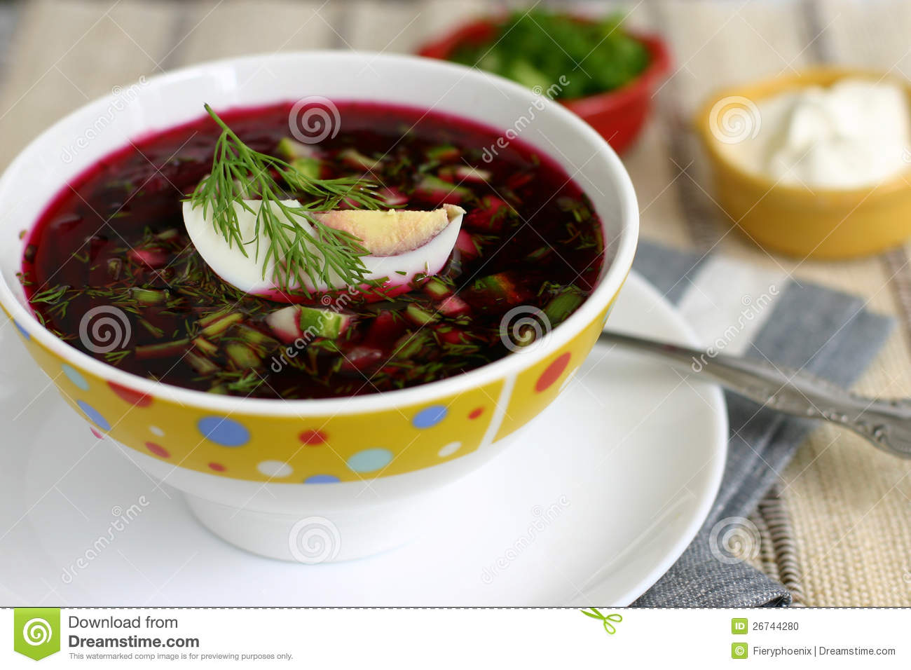 Beet soup with egg, cucumber and dill.