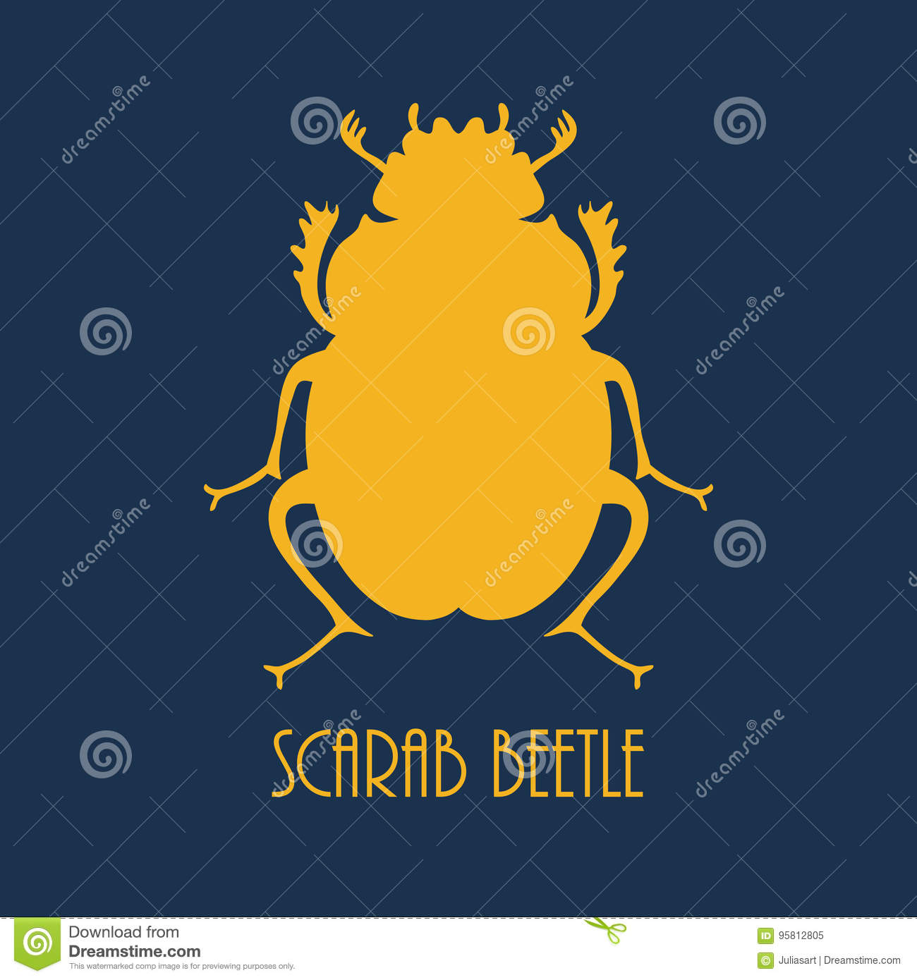 Beetle Egyptian Symbol Logo Template Stock Illustration