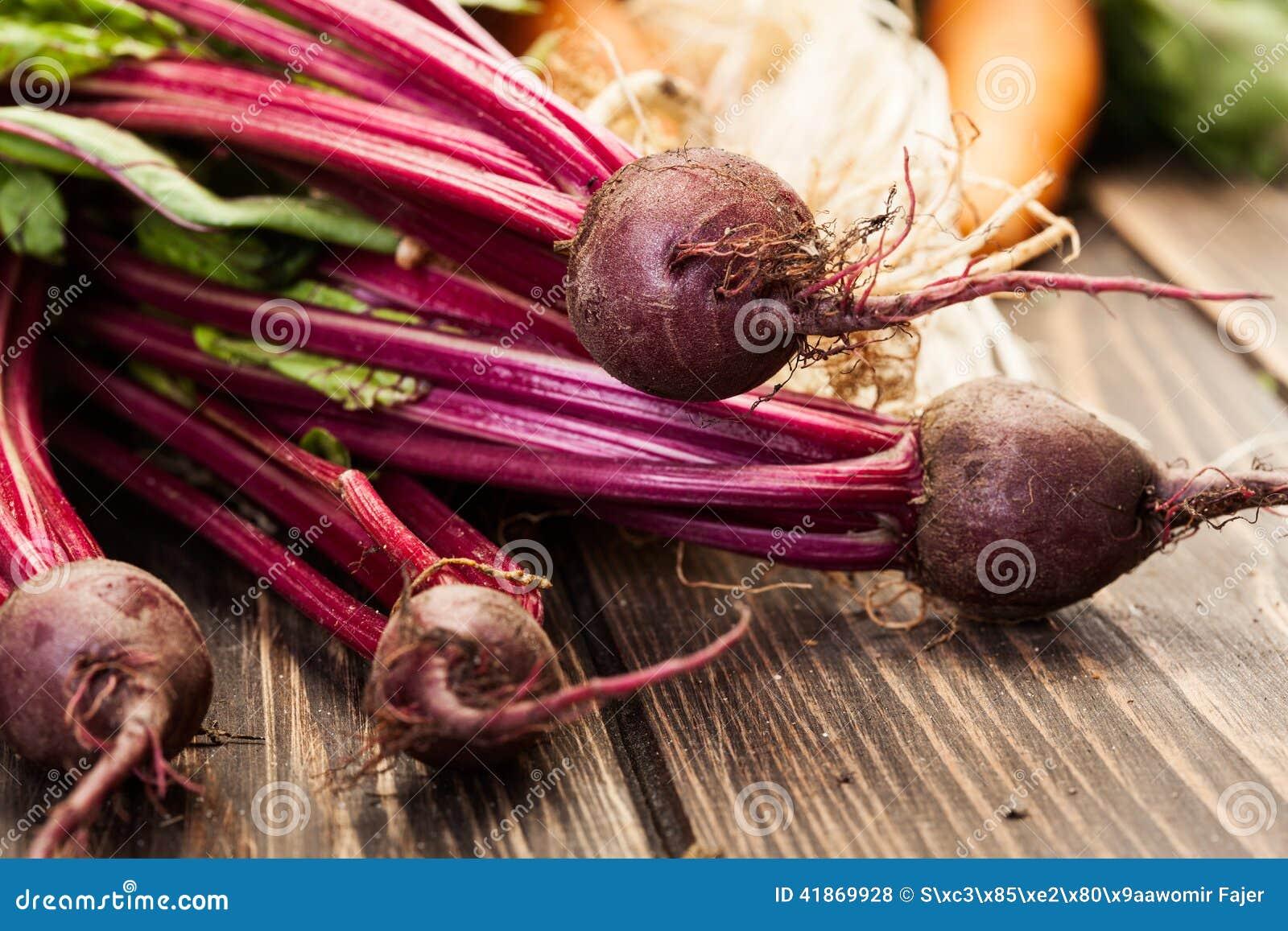 Beetroots, carrots and leek