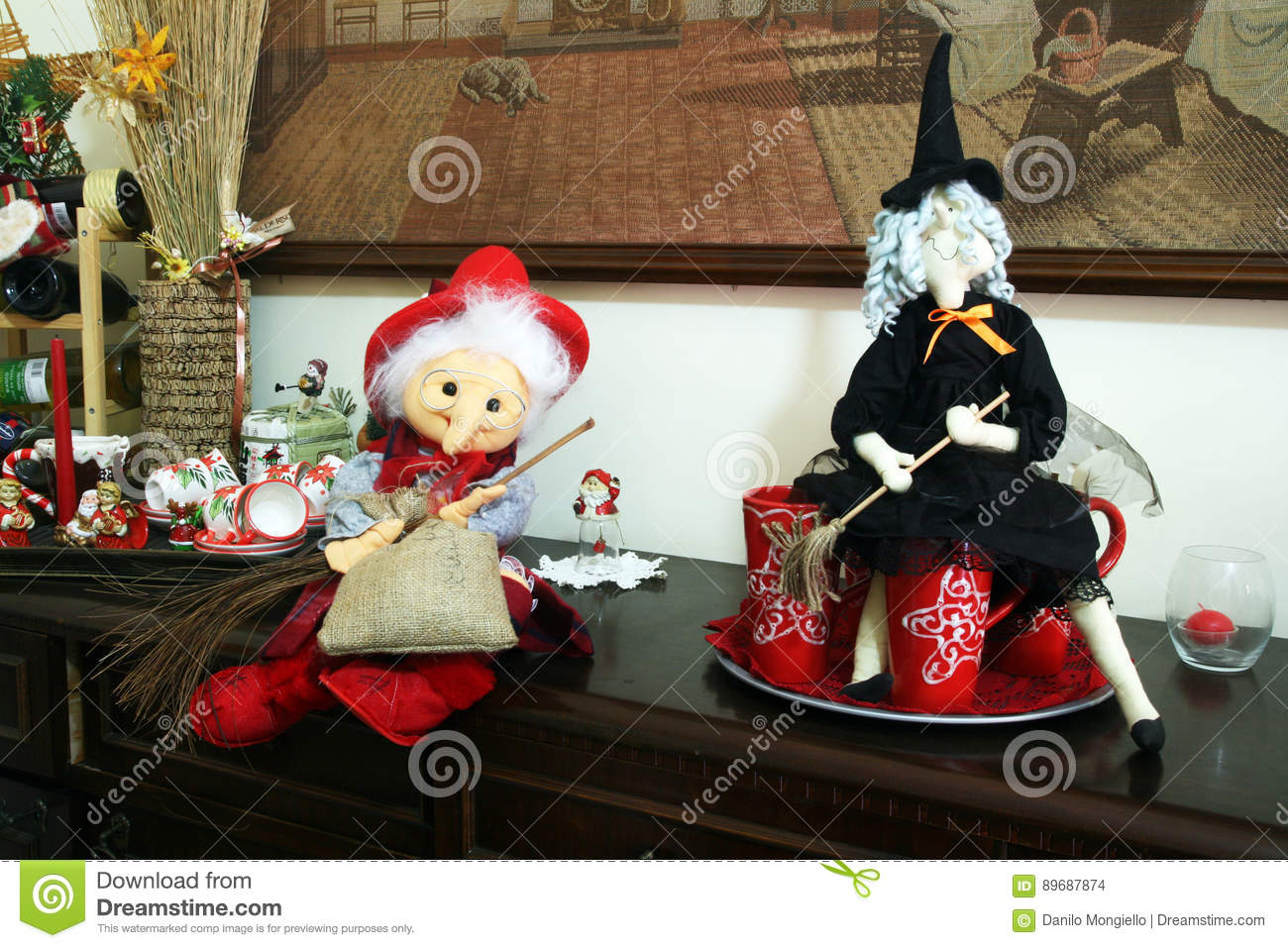 handmade epiphany witches for decoration in a italian house - Italian Christmas Witch