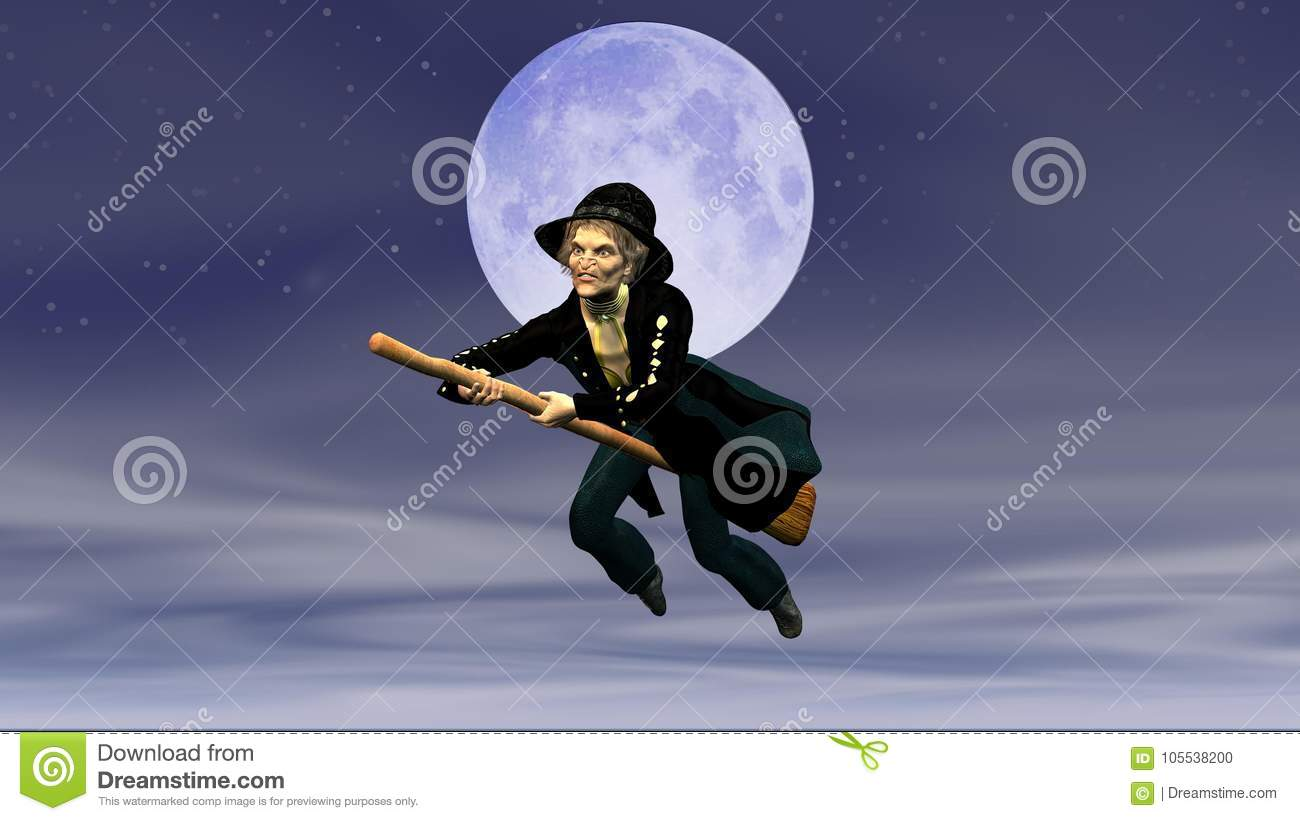 Befana On Flying Broom On The Background Of The Full Moon Stock