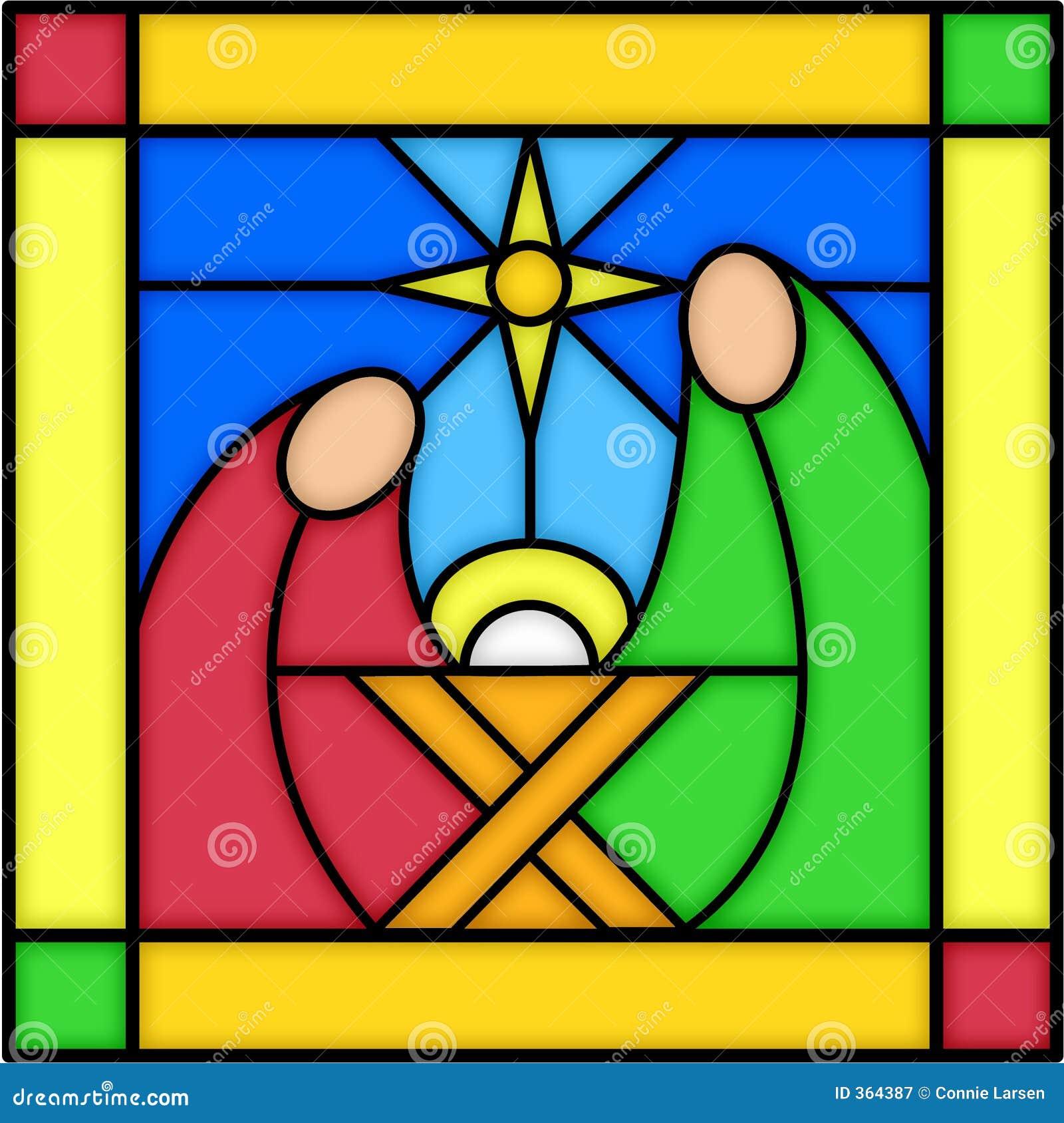 Befläckt glass nativity