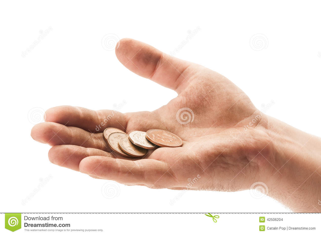 Beggar Hand With England Coins Stock Photo - Image: 42506204  Beggar Hand Wit...