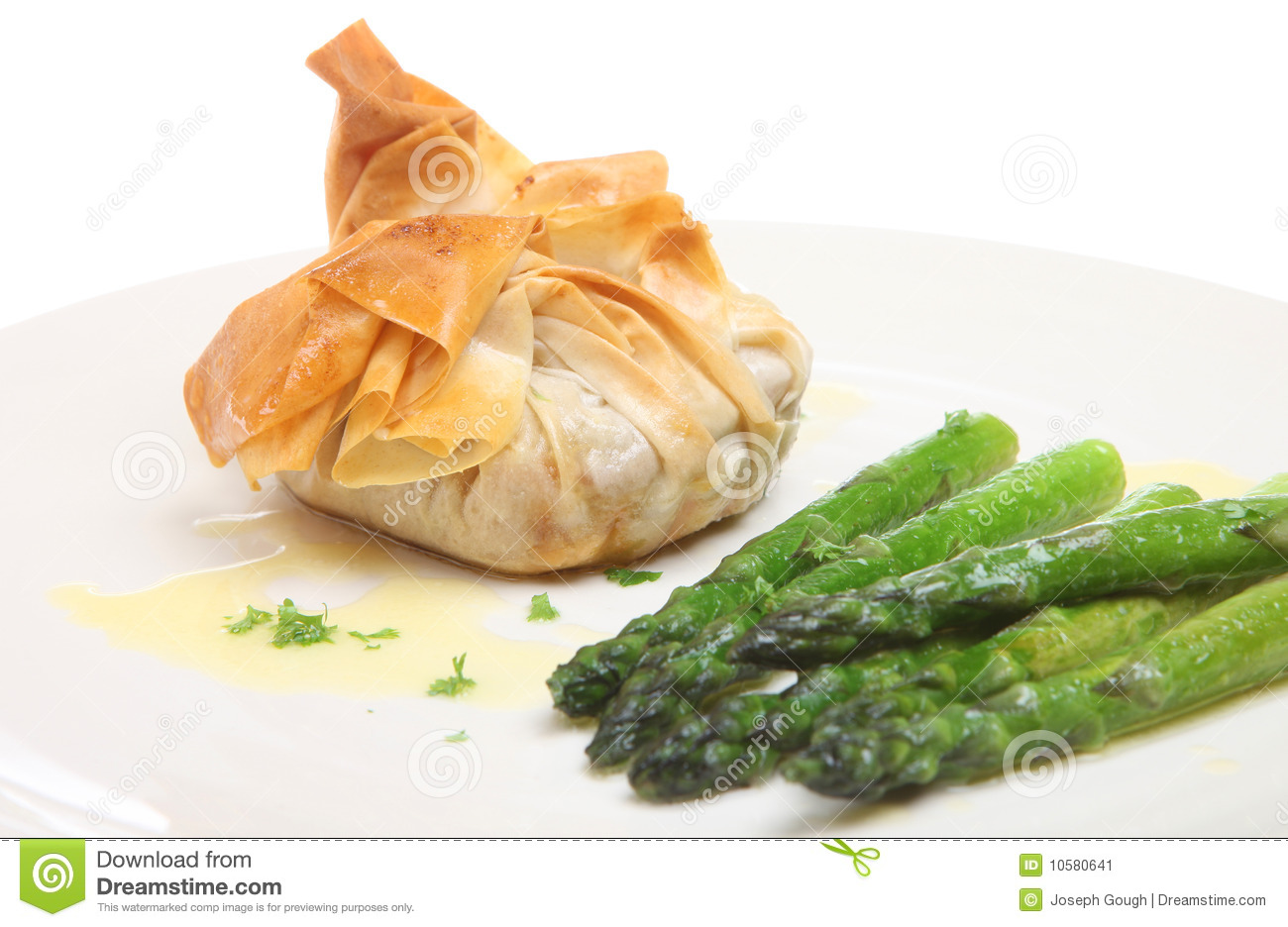 Beggar 39 s purse filo pastry parcel stock image image for Pastry canape fillings