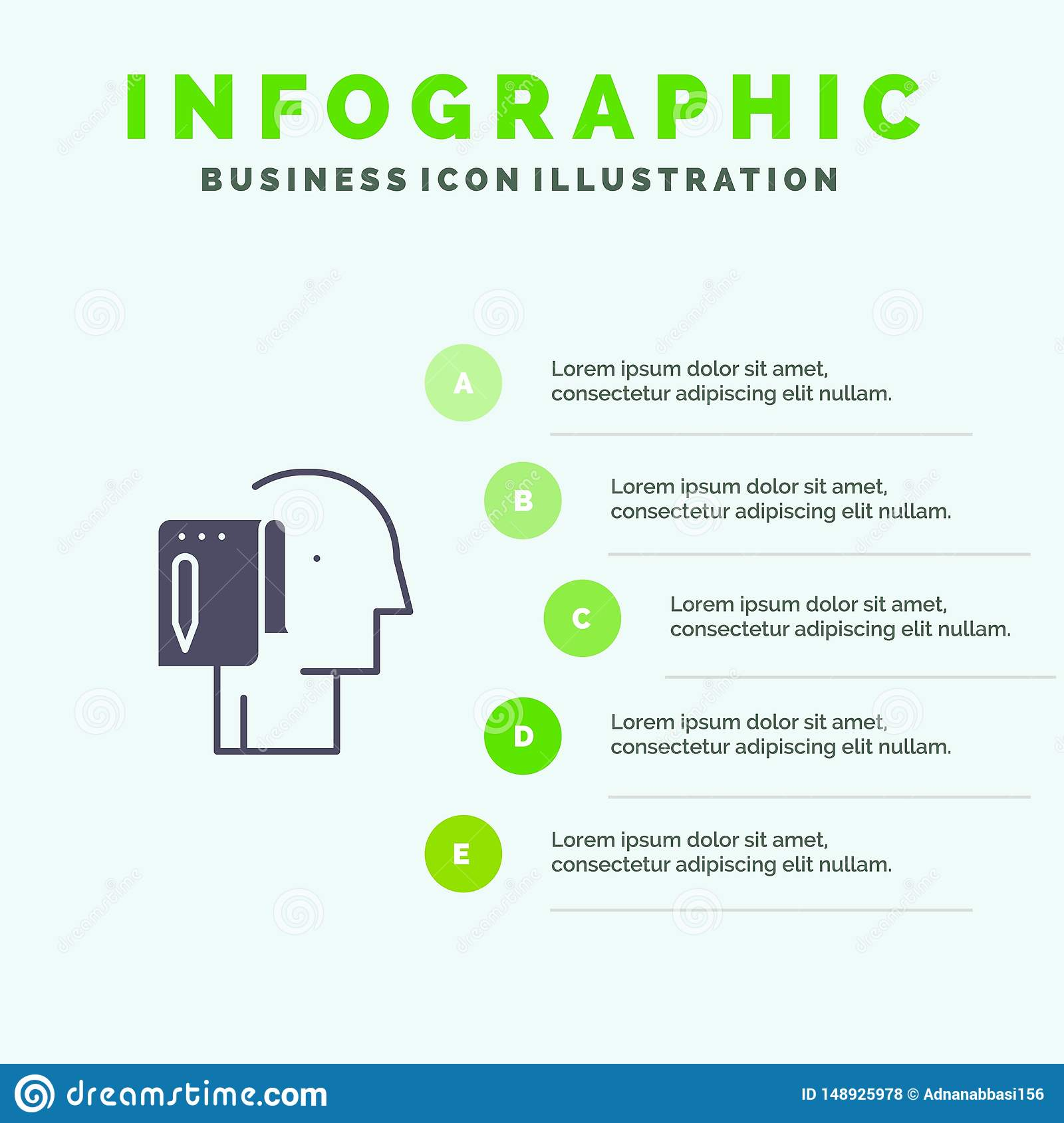 Begin, Start From Scratch, List, Note, Start Solid Icon Infographics 5 Steps Presentation Background