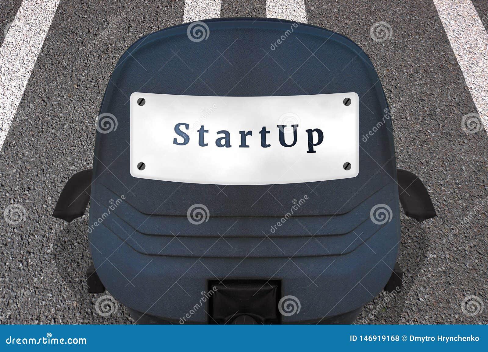 Beginnen Sie oben Konzept-Plakat Text START B?rostuhl auf markierter Rollbahn oder Landstra?e in Anfangsposition Auto Identifikat