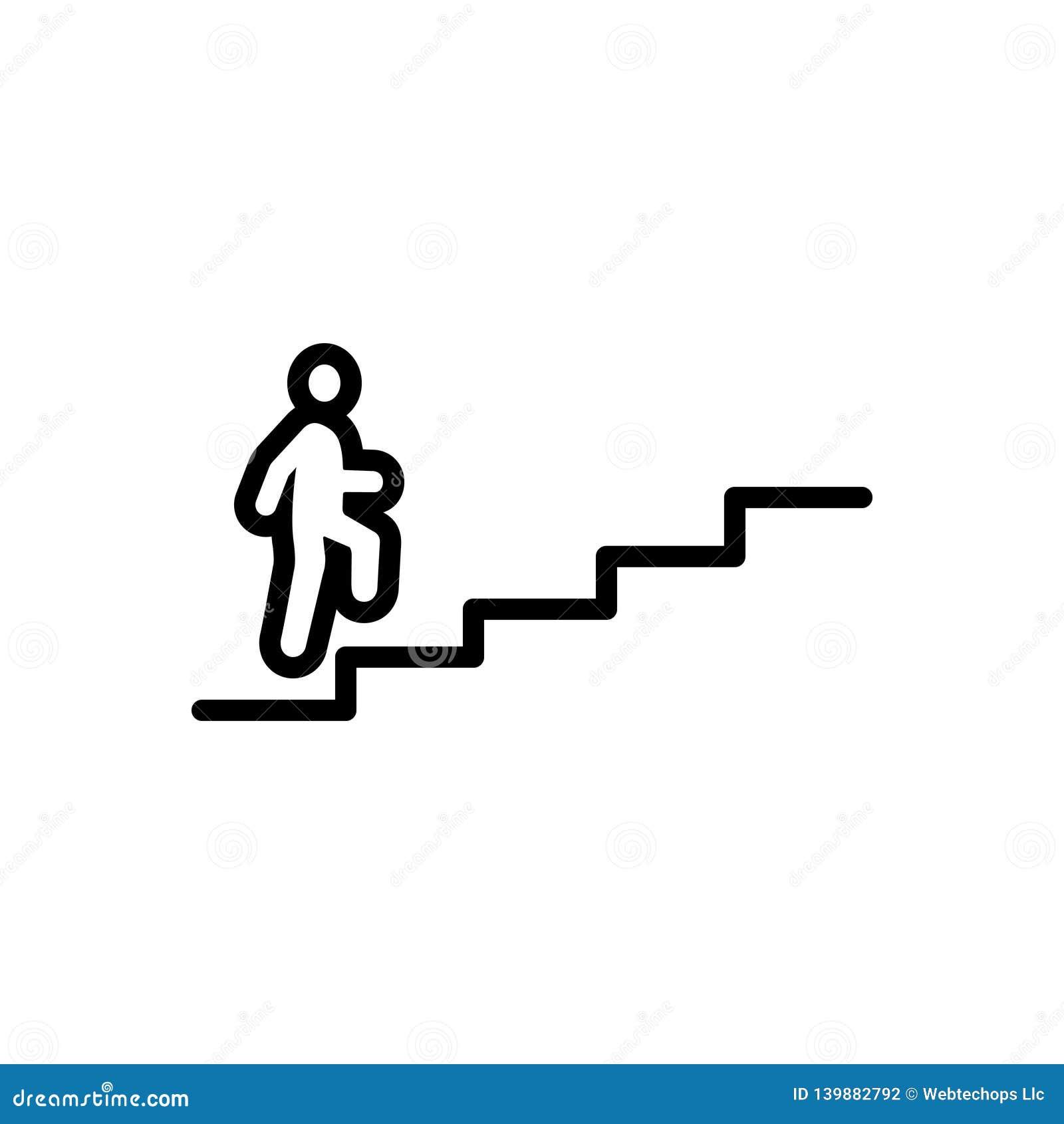 Black line icon for Beginner, beginning and start