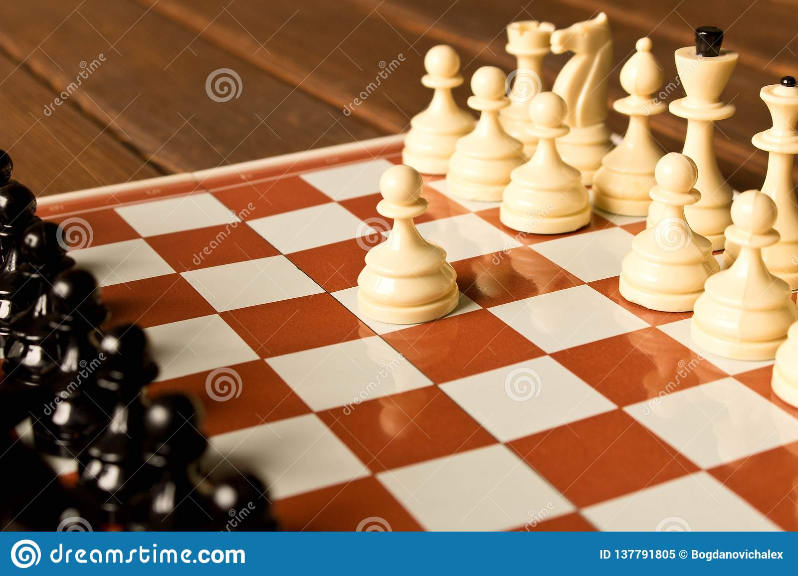 The beginning of the chess game. The concept of the game of chess