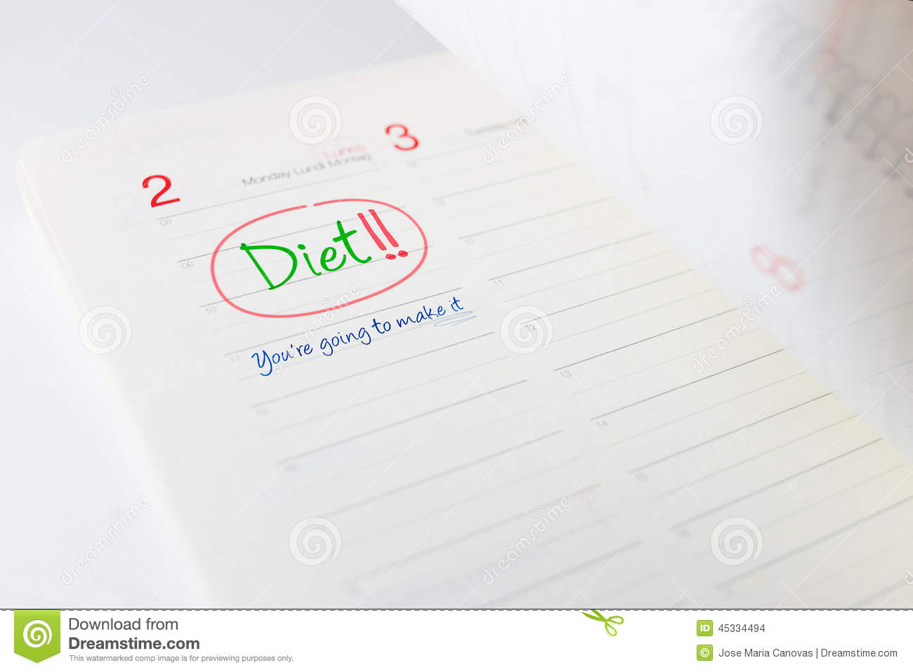 beginning of the diet in a appointment book stock photo image of