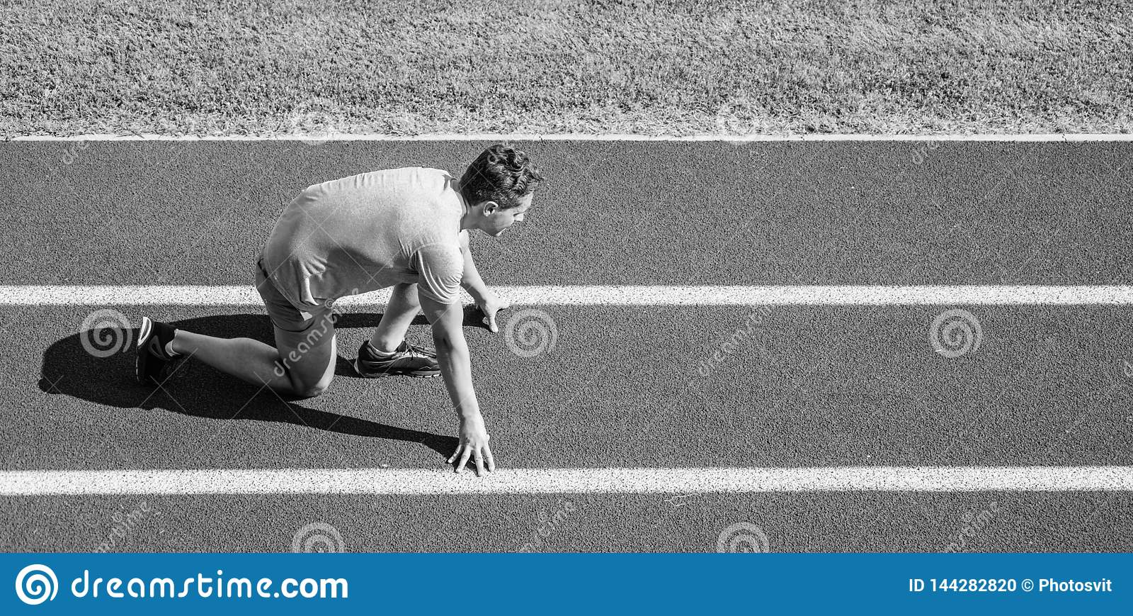 Beginning of new lifestyle habit. Runner ready to go. Athlete runner prepare to race at stadium. How to start running