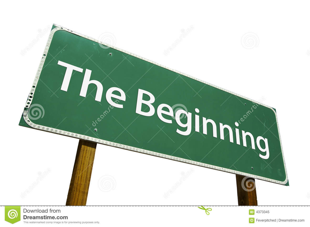 The Beginning road sign