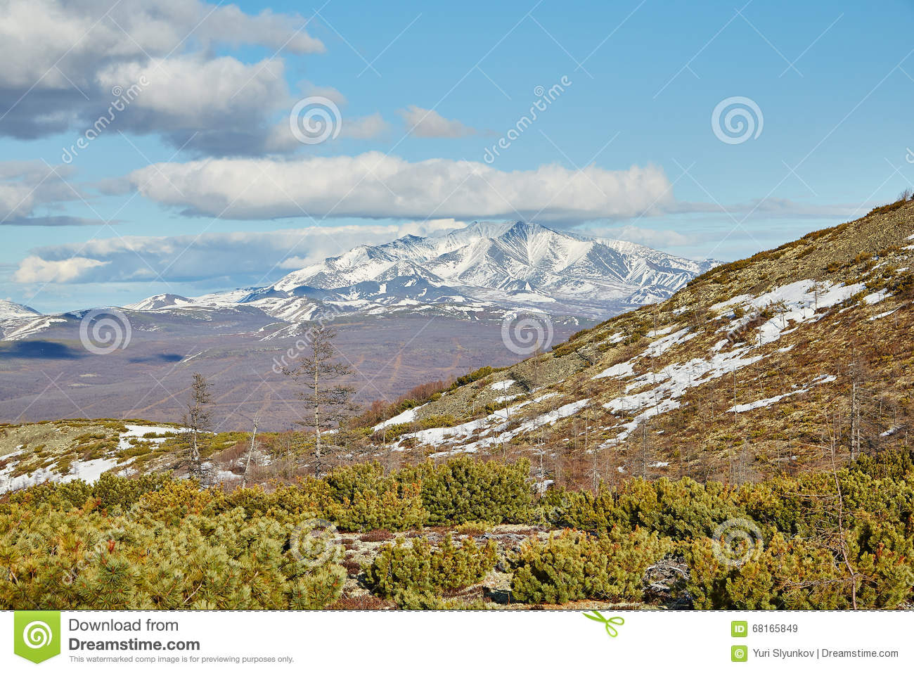 Download The Beginning Of Summer In Mountains On Kolyma. Snow Still Lies Stock Image - Image of mountains, stones: 68165849