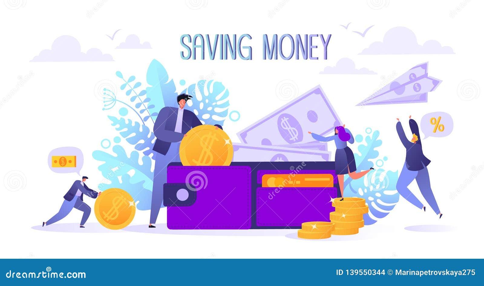 Begrepp av att landa sidan på affären och finans, sparande pengartema Karriär lön, förtjänstvinst Plana tecken som samlar M