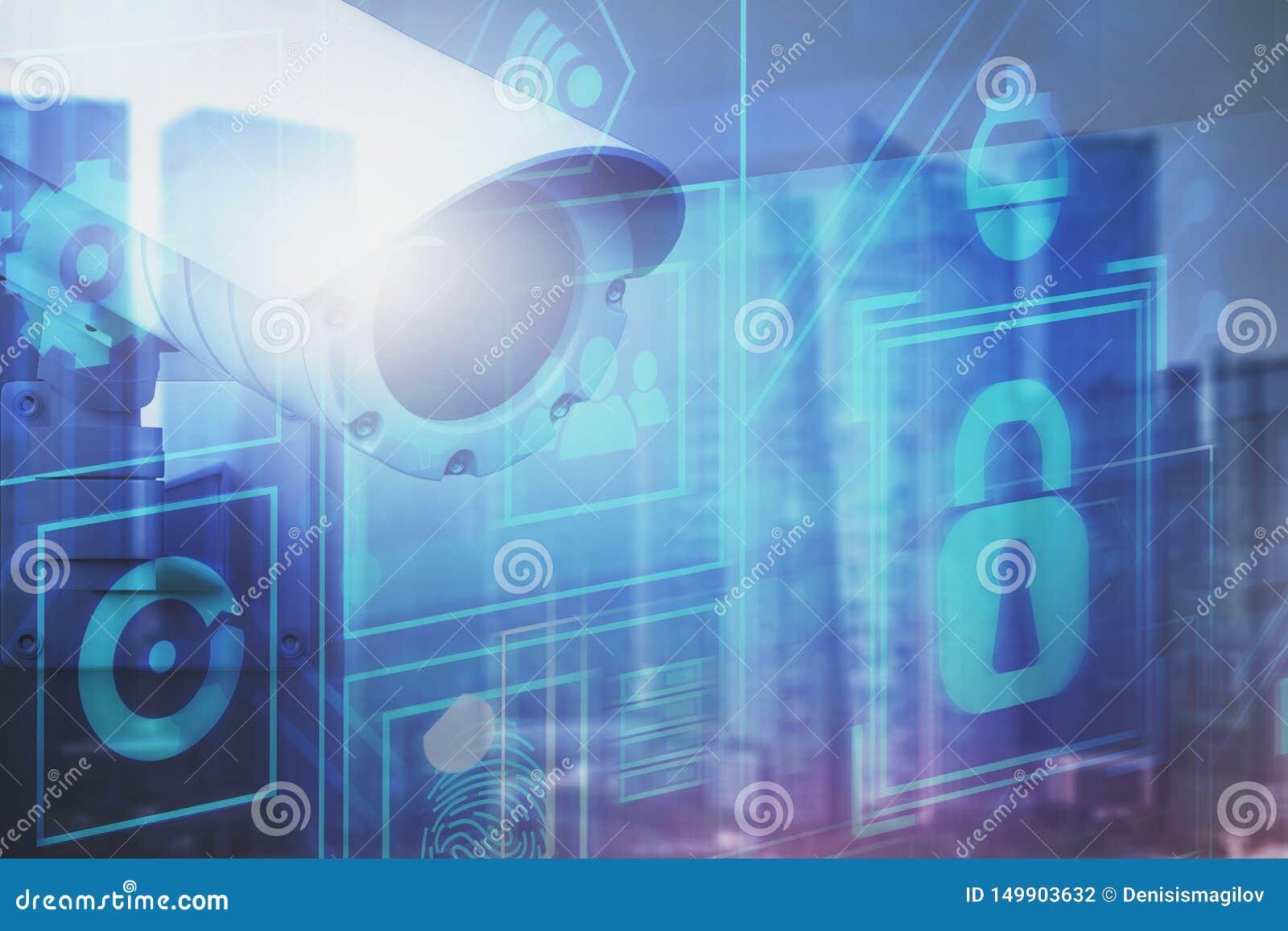 Begrepp av digital övervakning och bevakning