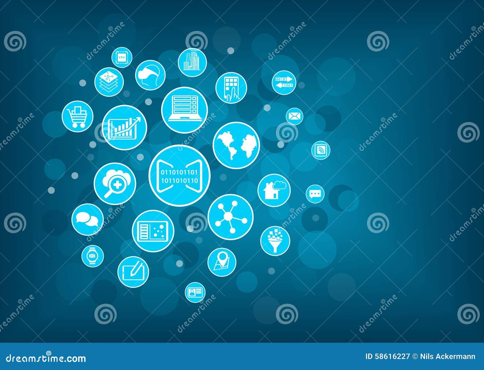 Begrepp av digitization av affären Vektorillustrationen av olika symboler gällde den digitala affären som mobila enheter